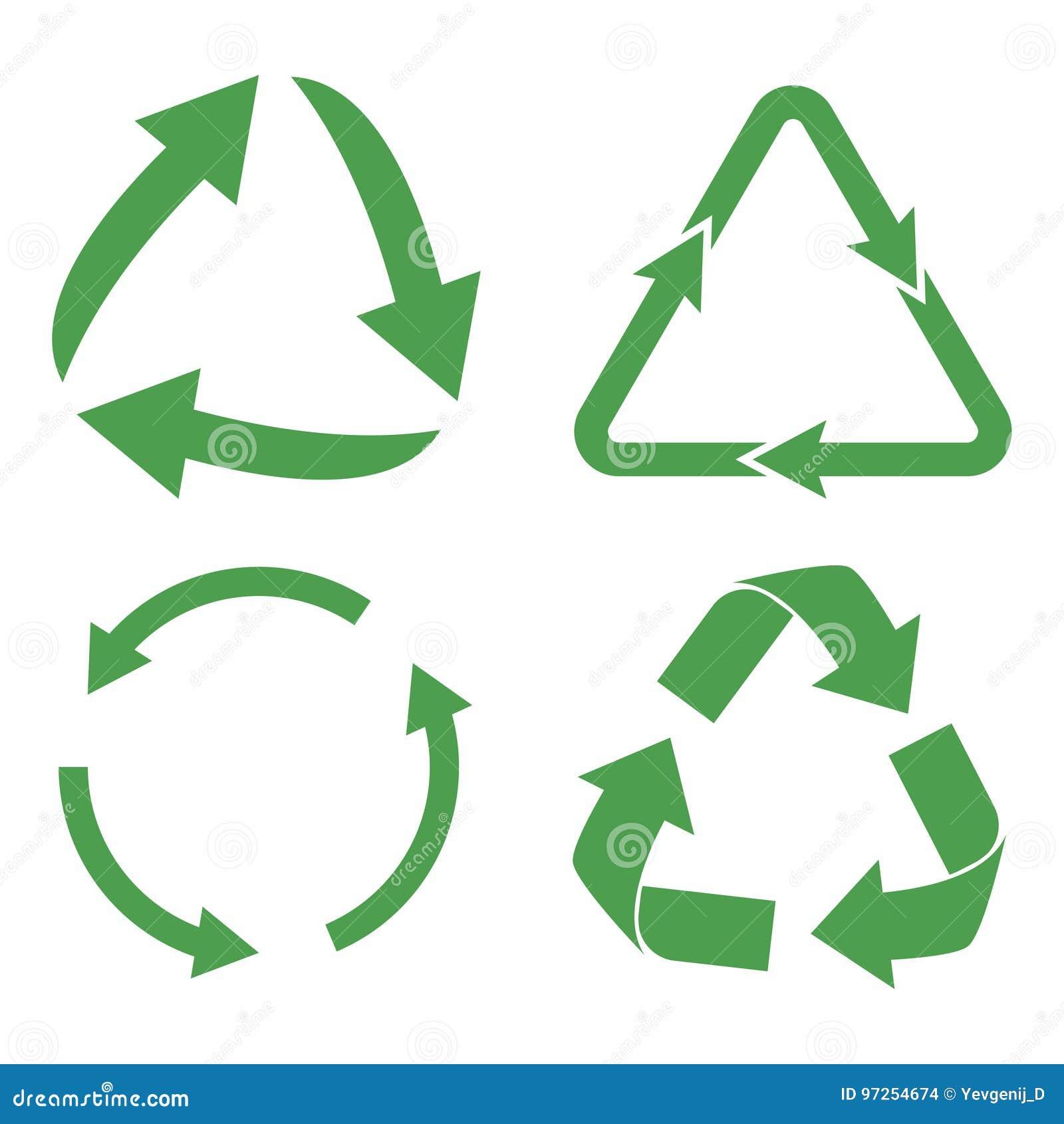 Recicl o jogo do ícone Setas verdes do ciclo do eco Recicle o símbolo na ecologia
