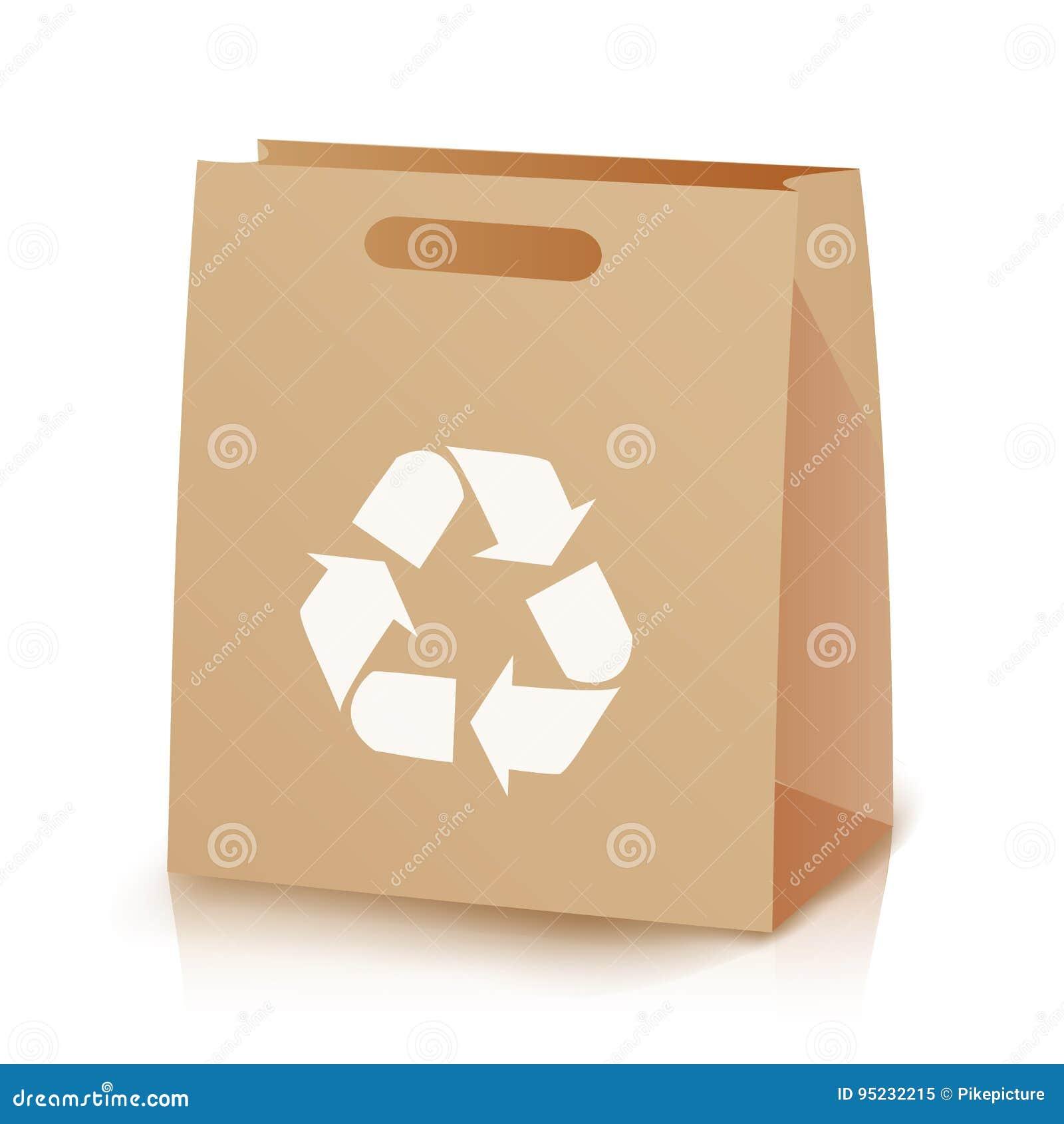 Recicle el bolso marrón de las compras Ejemplo de la bolsa de papel reciclada de Brown que hace compras con las manijas Reciclaje