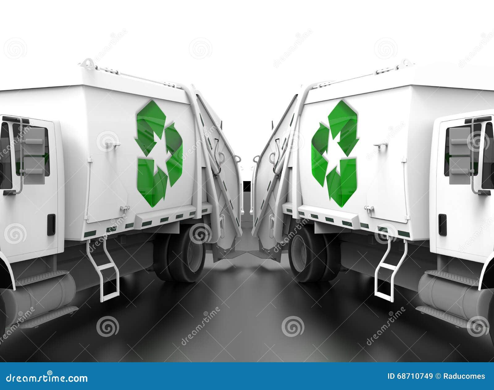 Recicle el concepto del trabajo en equipo de los camiones de lado a lado