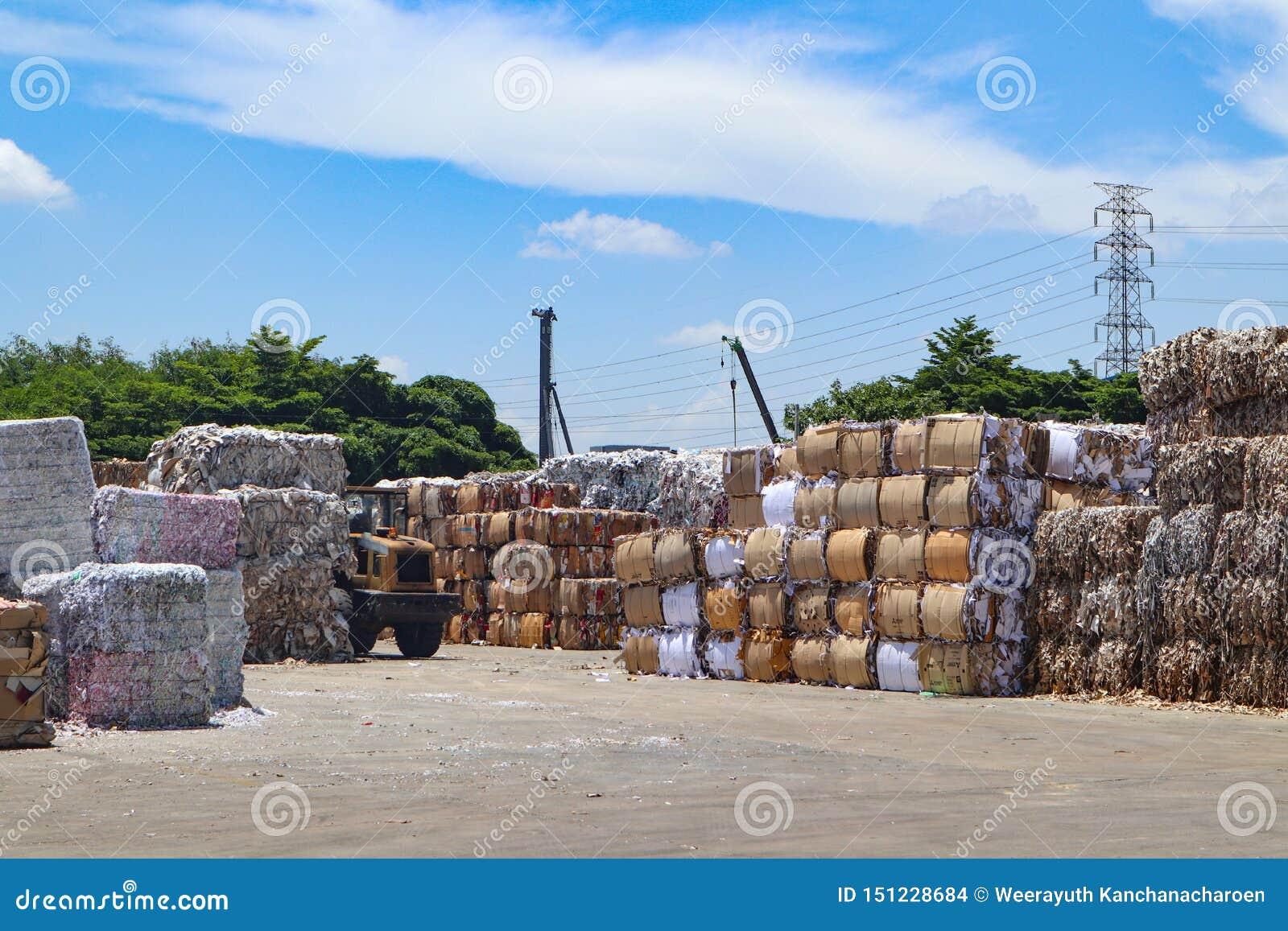 Recicle la basura de la basura y del papel de la cartulina de la industria después de clavar la máquina de embalaje hidráulica de
