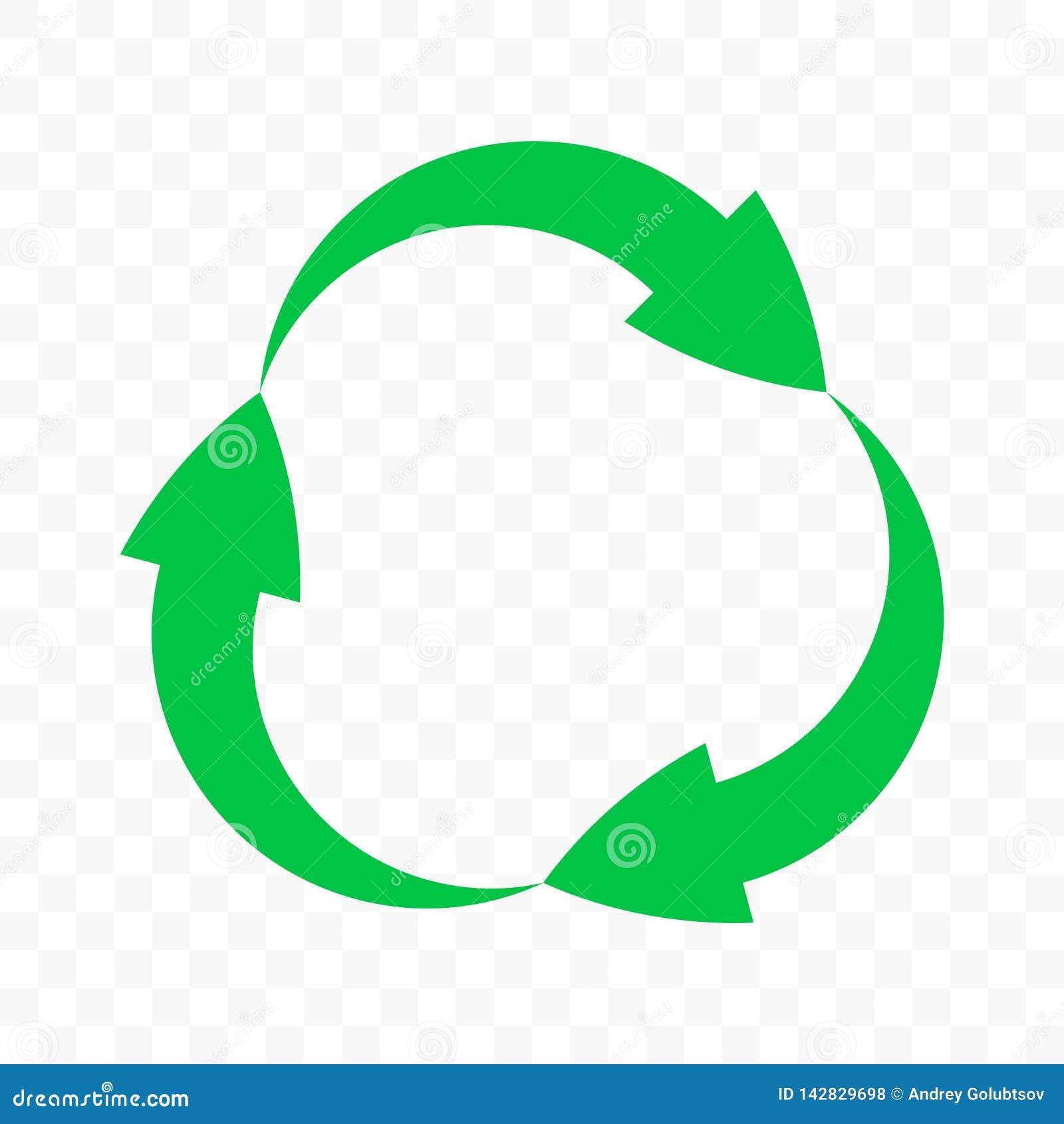 Recicle o ícone, setas do vetor circundam o símbolo Ciclo da reutilização do desperdício de Eco, bio desperdício para reciclar se