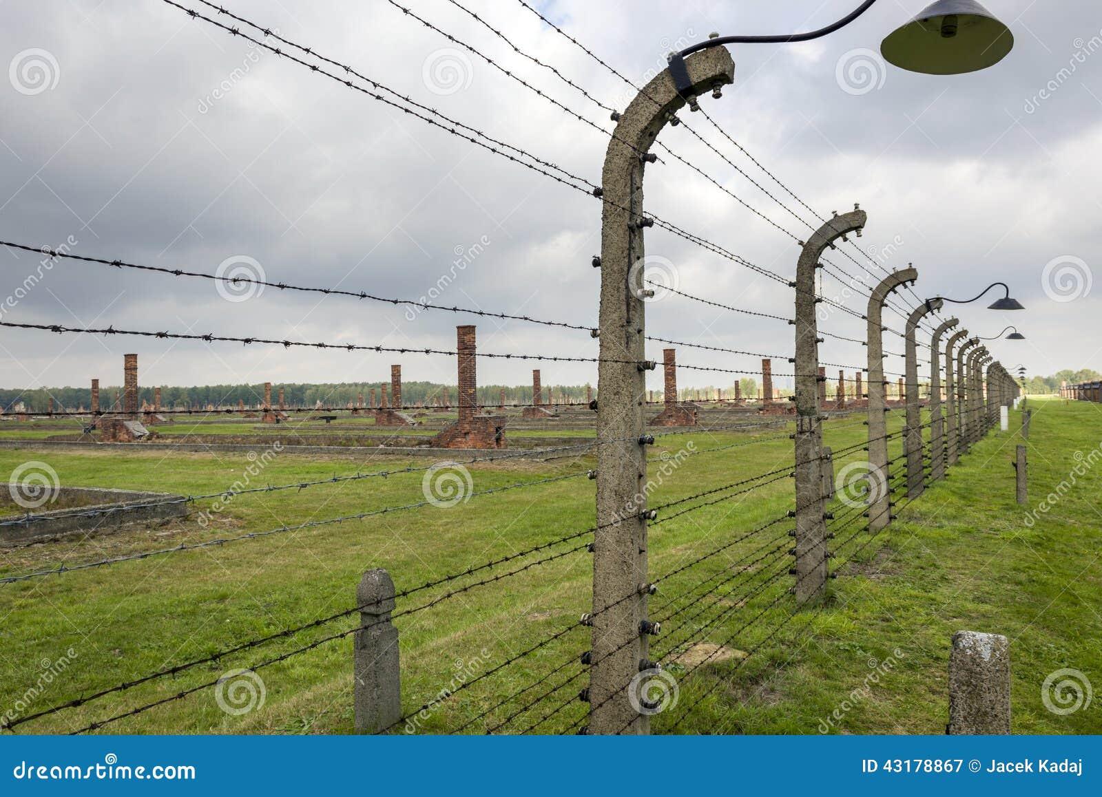 Fotografia Editoriale: Recinto pungente con la lampada nel campo di ...