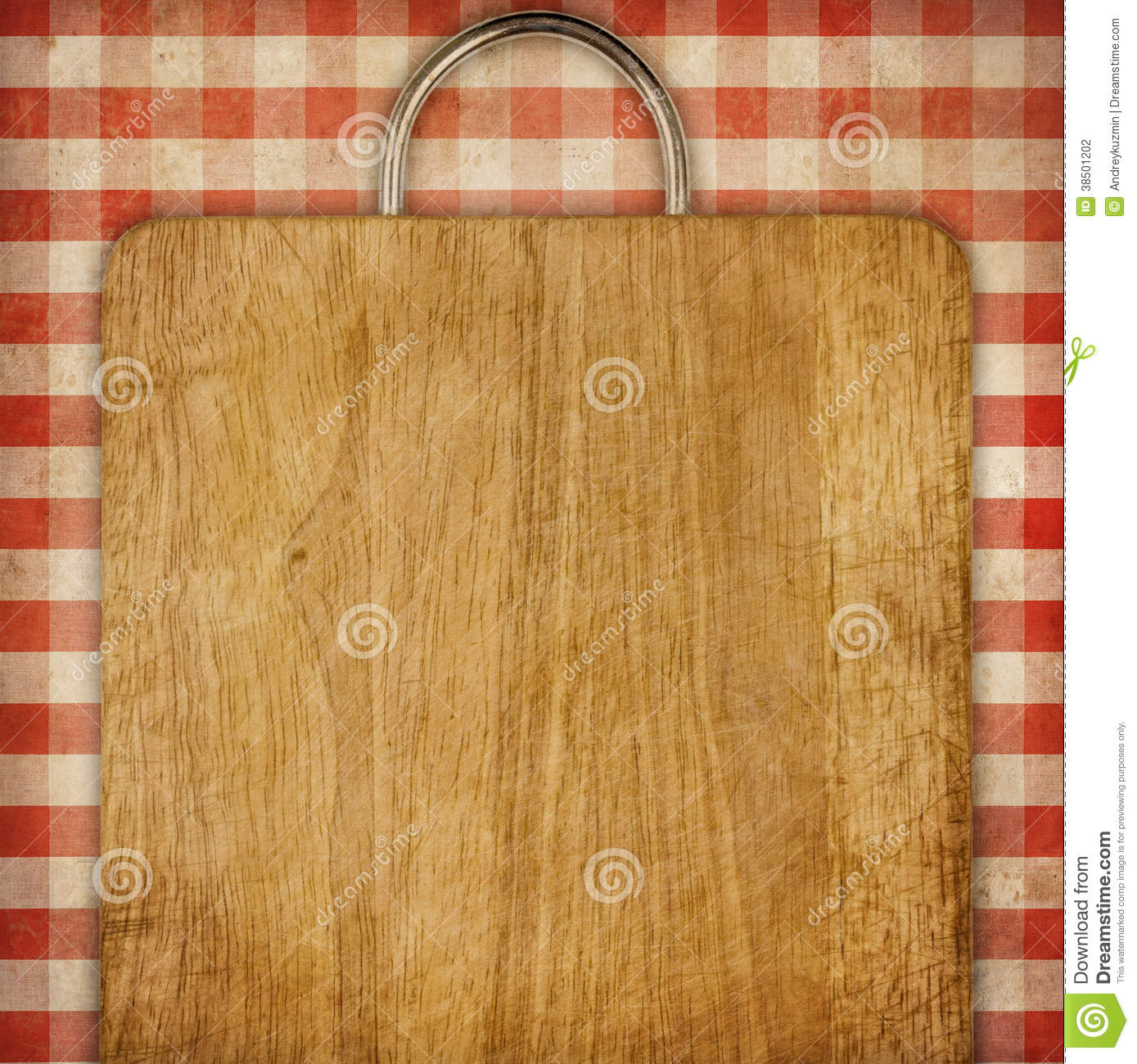 Recipe Background Breadboard Over Red Gingham Picnic Tablecoth Stock ...