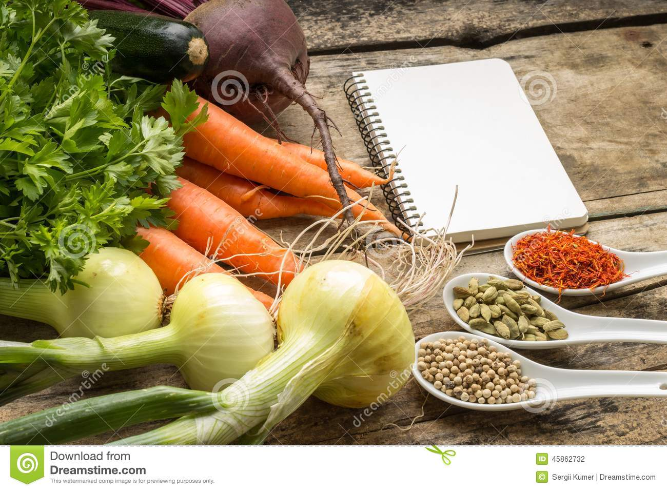 Recipe Background Fresh Vegetables With Blank Page Of