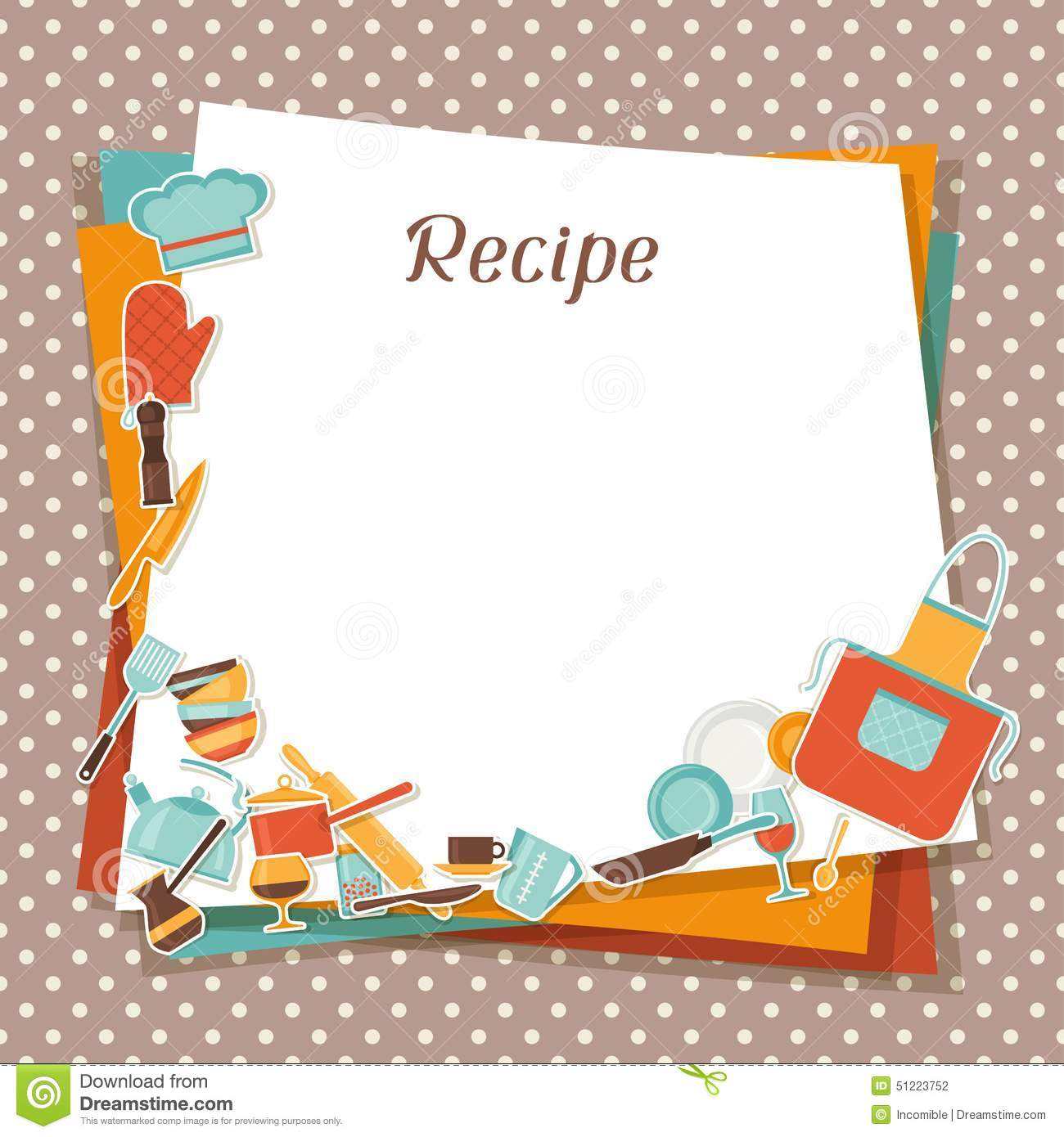 Recipe Background With Kitchen And Restaurant Stock Vector