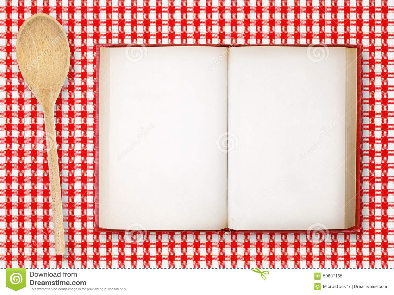 Cookbook Red Checkered Cover : Recipe book on checkered tablecloth stock image of