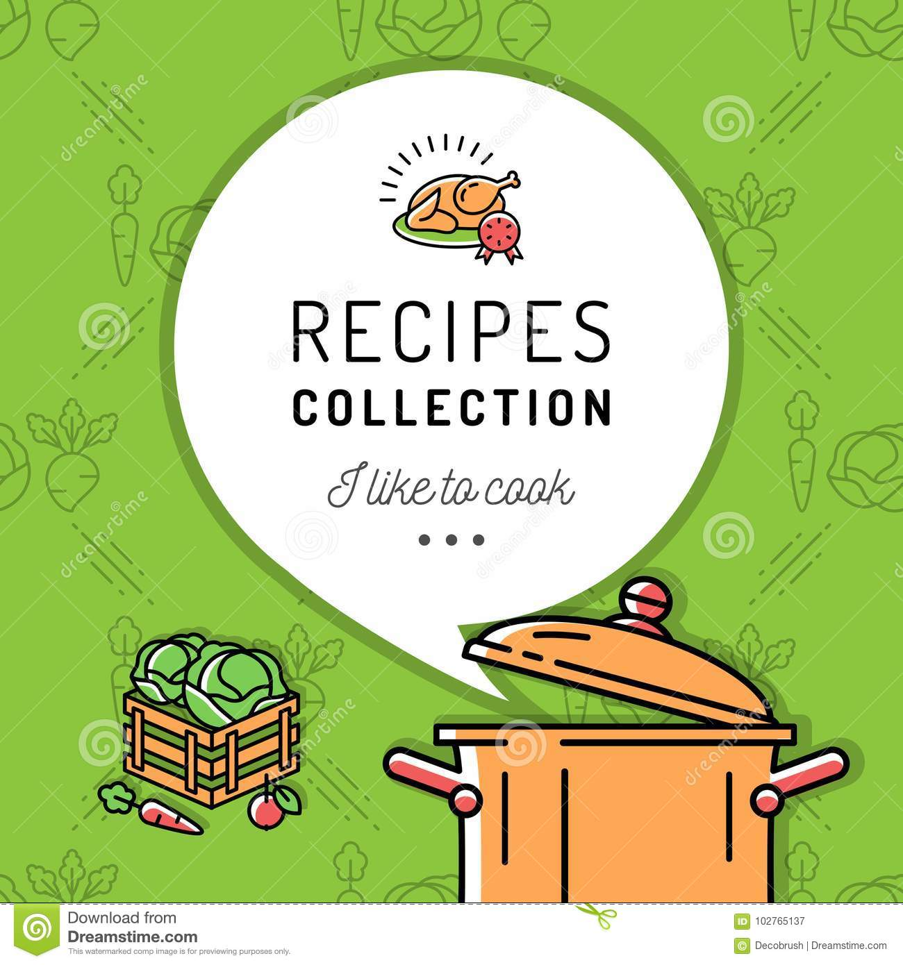 Recipe Book Cookbook Cover Menu Boiling Pot Steam Icon Culinary And Vegetables Background