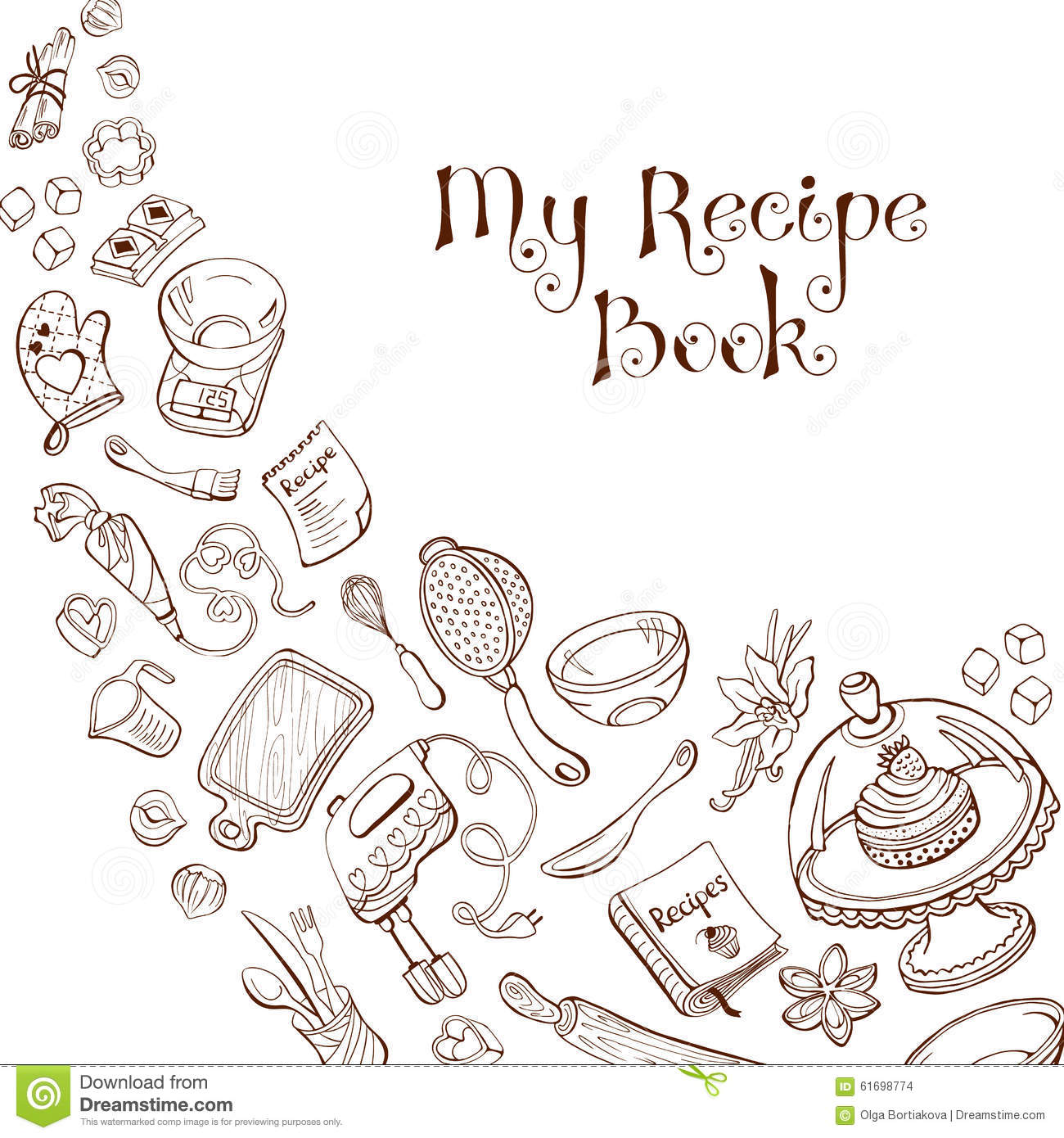 recipe book template stock vector illustration of background 61698774