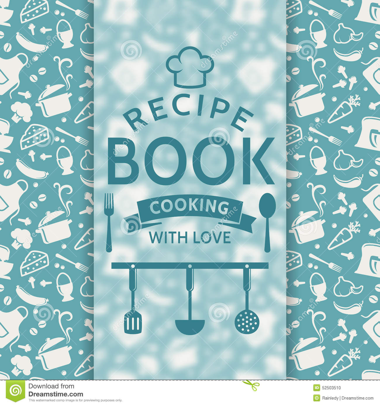Book Cover Design Silhouette : Recipe book vector card stock image