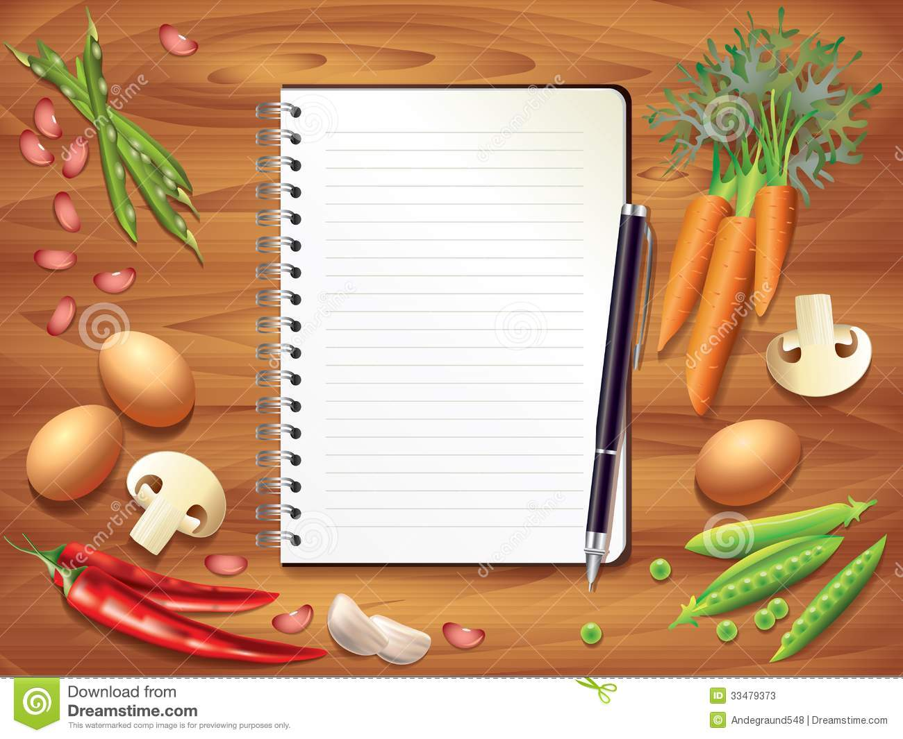 Recipe book on wooden table food ingredients stock vector download comp forumfinder Image collections