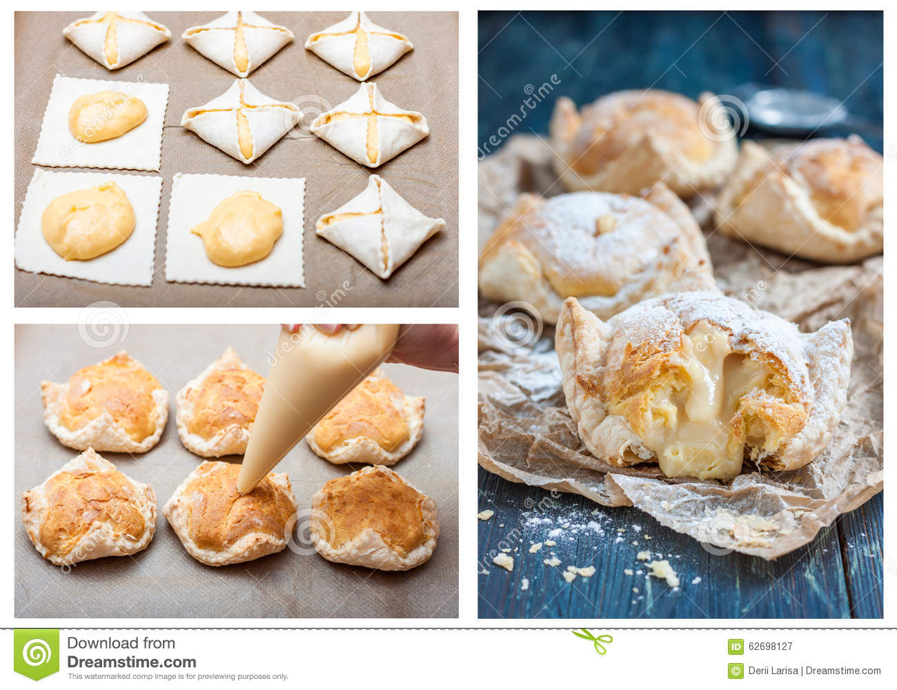 Recipe For Cake Of Puff Pastry And Choux Pastry With Custard Step
