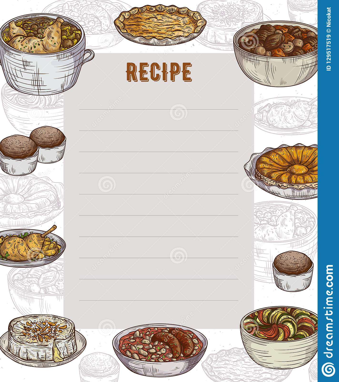 recipe card cookbook page design template with collection of