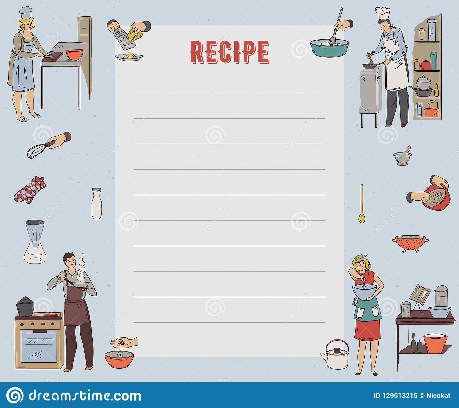 Recipe Card. Cookbook Page. Design Template With People Preparing Pertaining To Recipe Card Design Template