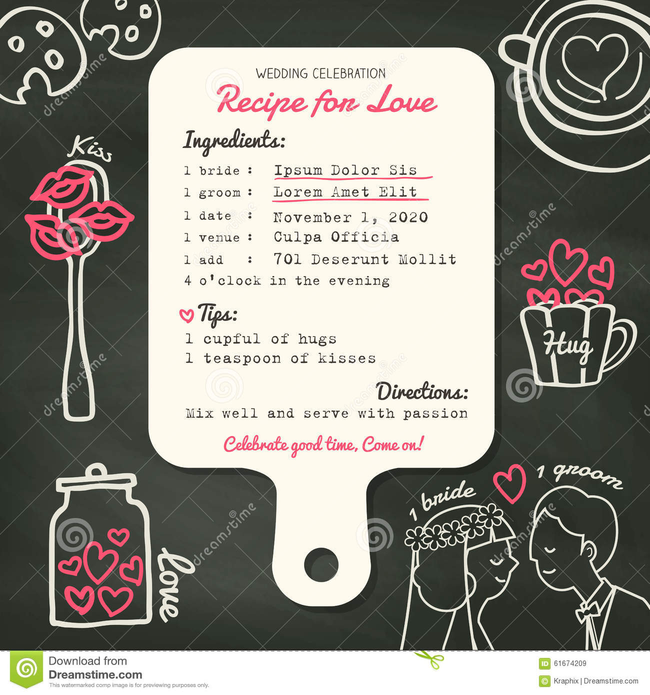 Recipe Card Creative Wedding Invitation Design With Cooking