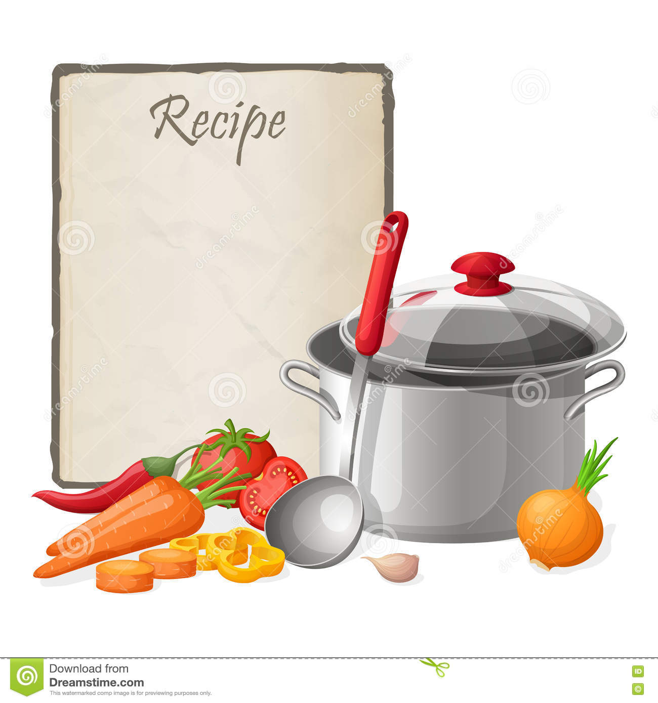 Recipe card kitchen note blank template vector for Art cuisine evolution 10 piece cooking set