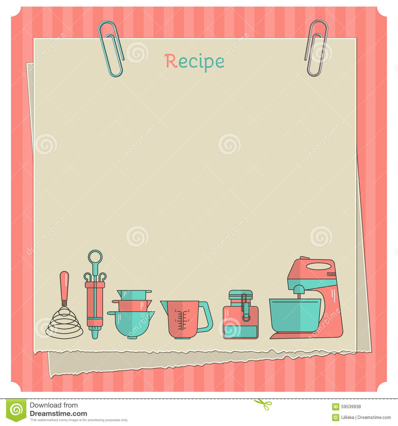 recipe card kitchen note template stock illustration illustration of cartoon bowl 59539938. Black Bedroom Furniture Sets. Home Design Ideas