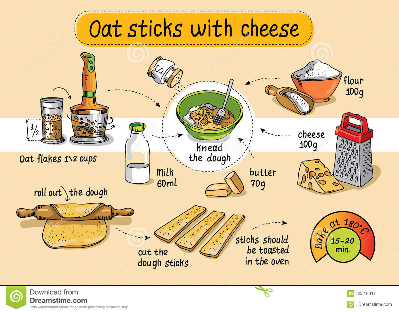 Recipe For Homemade Oat Sticks With Cheese. Step By Step