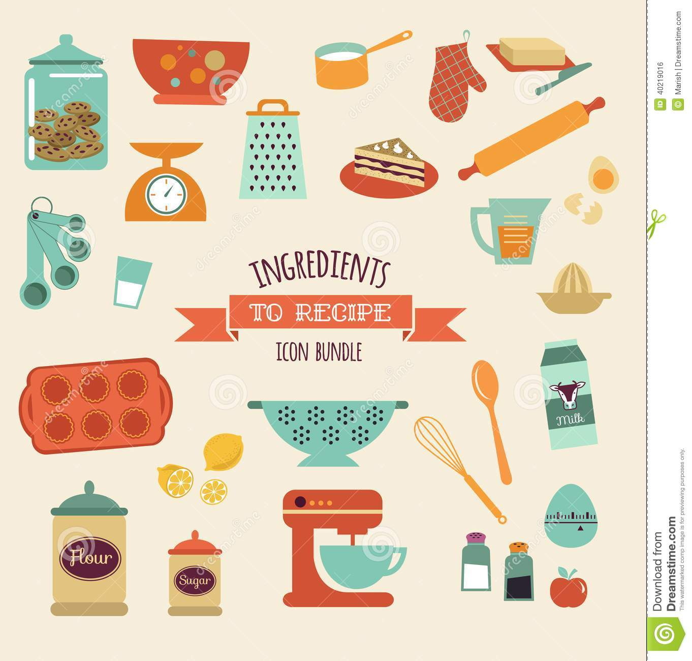 Beau Recipe And Kitchen Vector Design, Icon Set