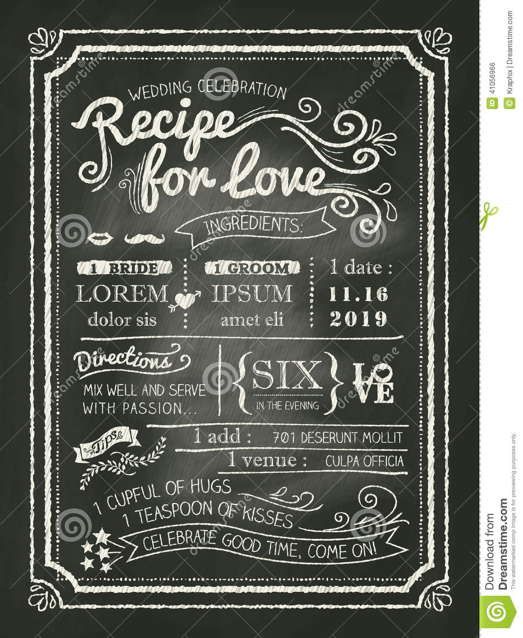 Recipe For Love Chalkboard Wedding Invitation Card Stock Vector
