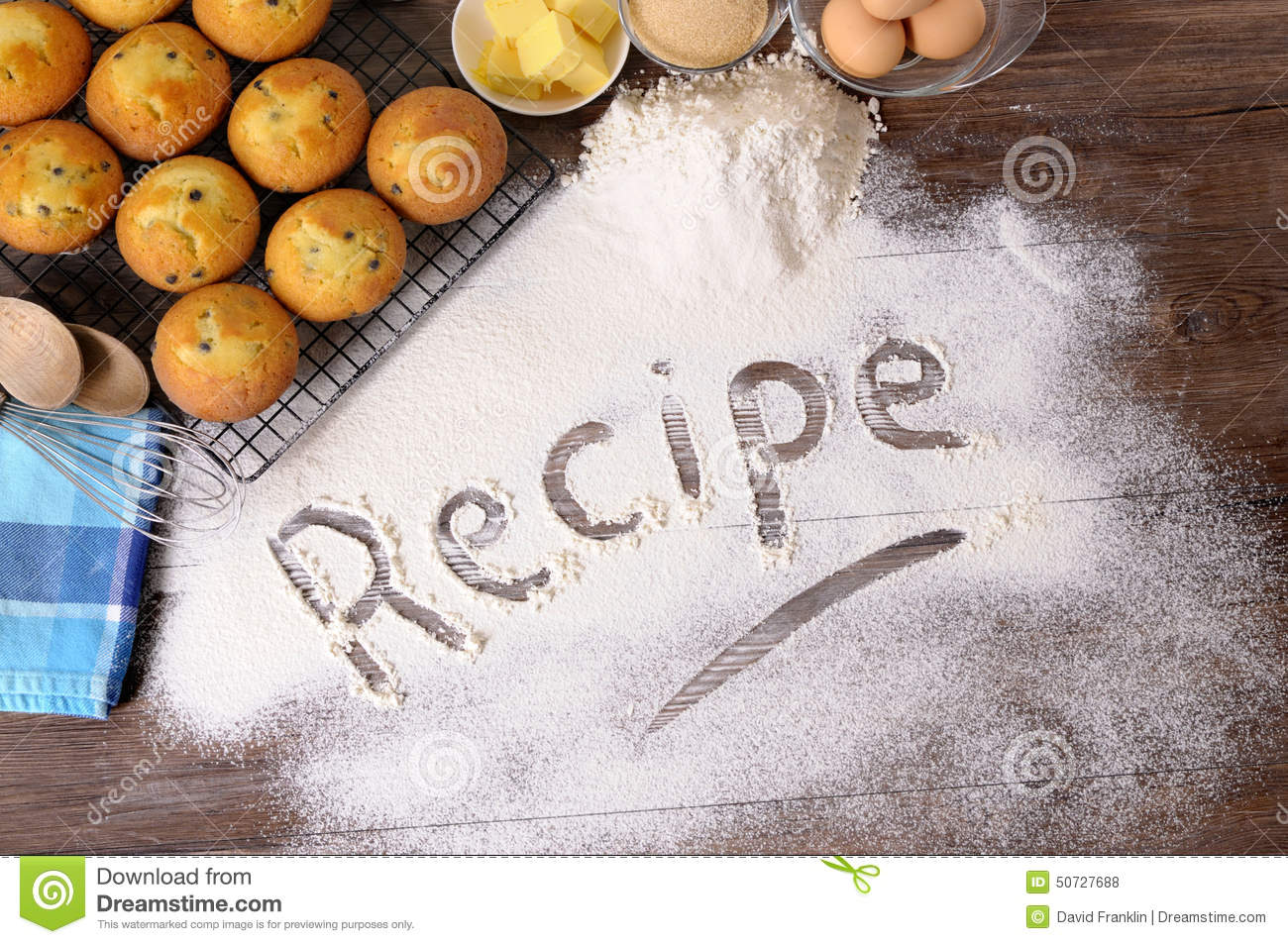 Cake Recipes In Written: Cake Baking Ingredients, Recipe Word Written In White