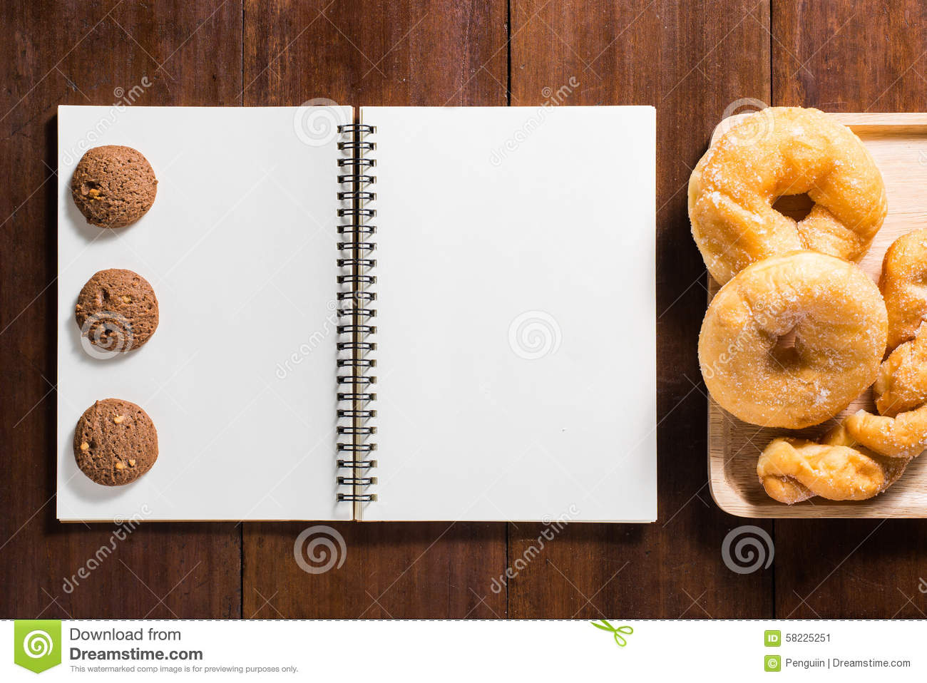 Recipe notebook donuts cookie on wooden background stock image download recipe notebook donuts cookie on wooden background stock image image of notepad forumfinder Image collections