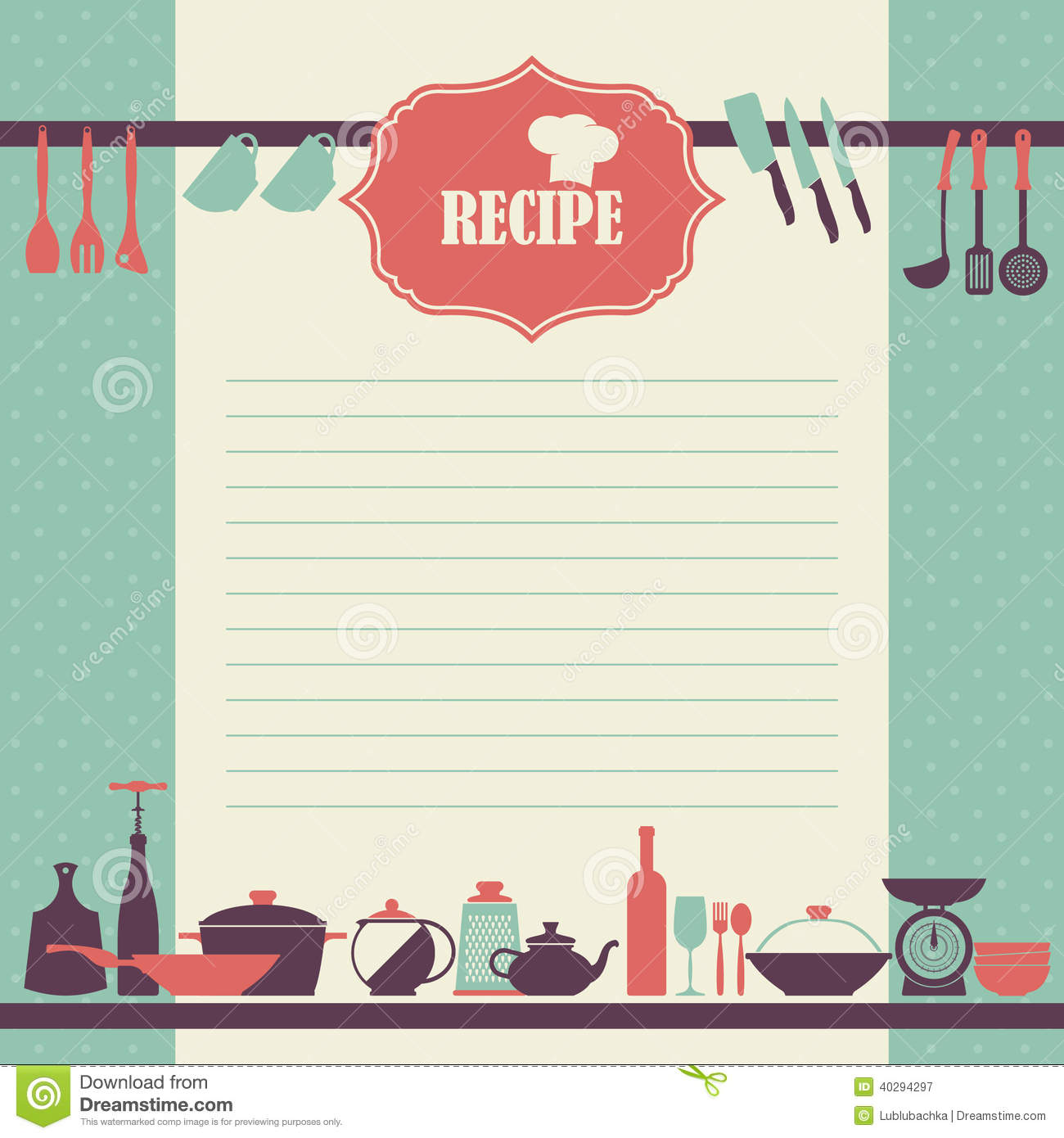 Recipe Page Design. Vintage Style Cooking Book Page Stock Vector ...