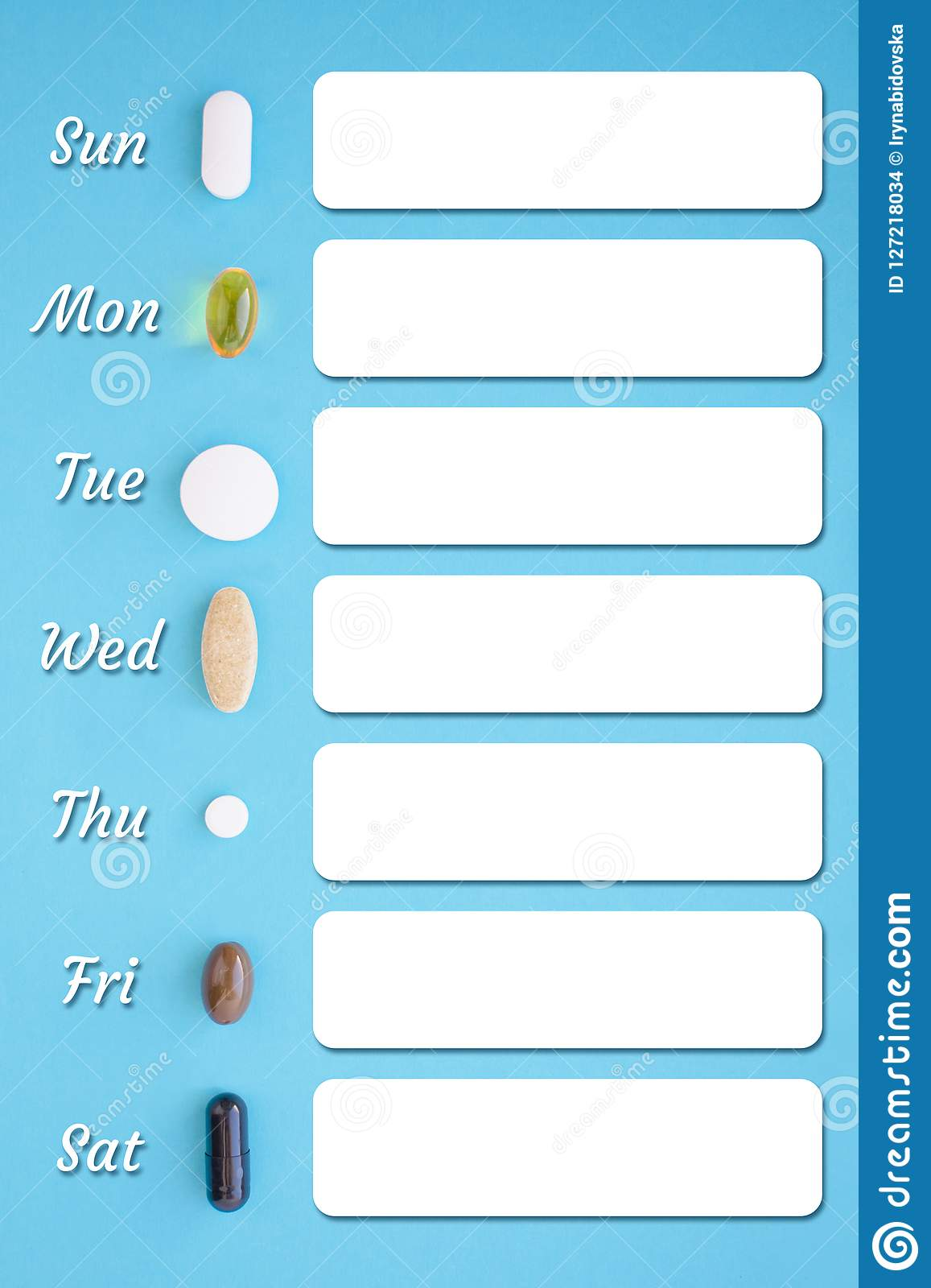 Recipe photo template with seven different types of pills and marking the days of the week