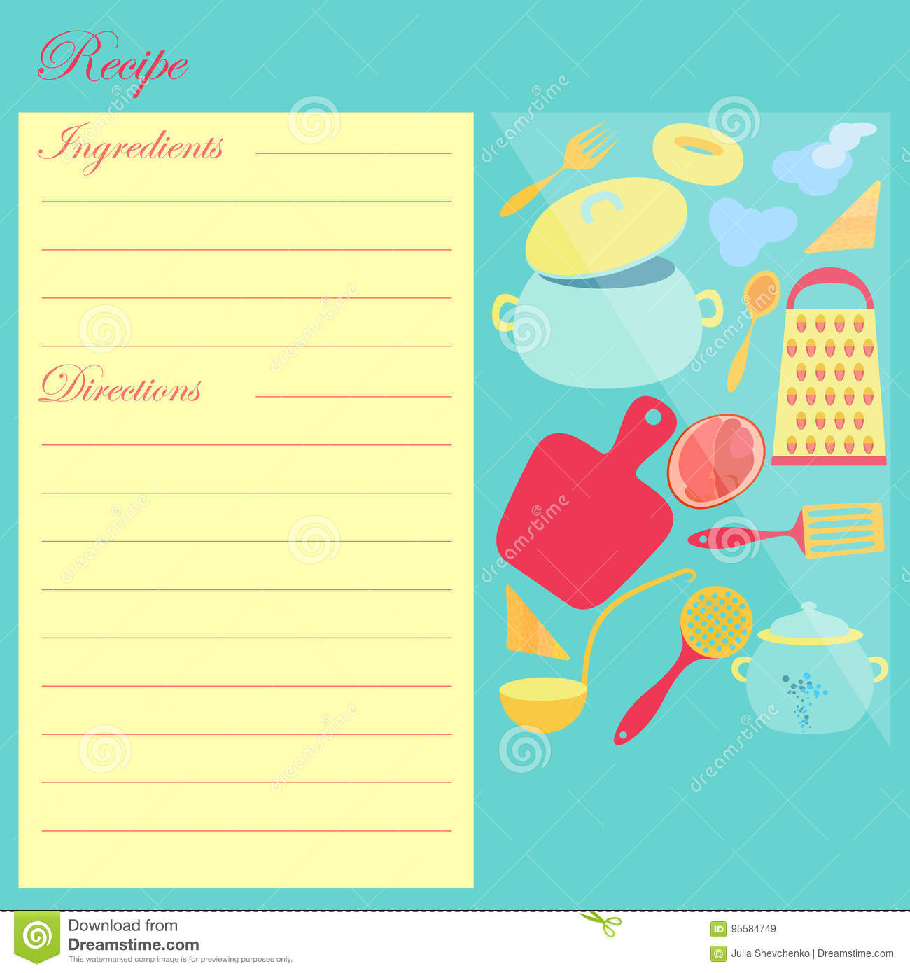 The Recipe Sheet For Cooking Stock Vector - Illustration of kitchen ...