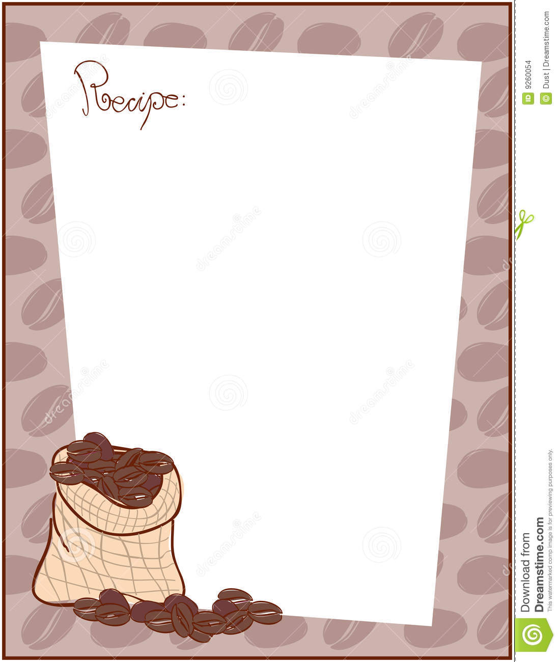 Vector illustration of recipe template with coffee sack and beans.