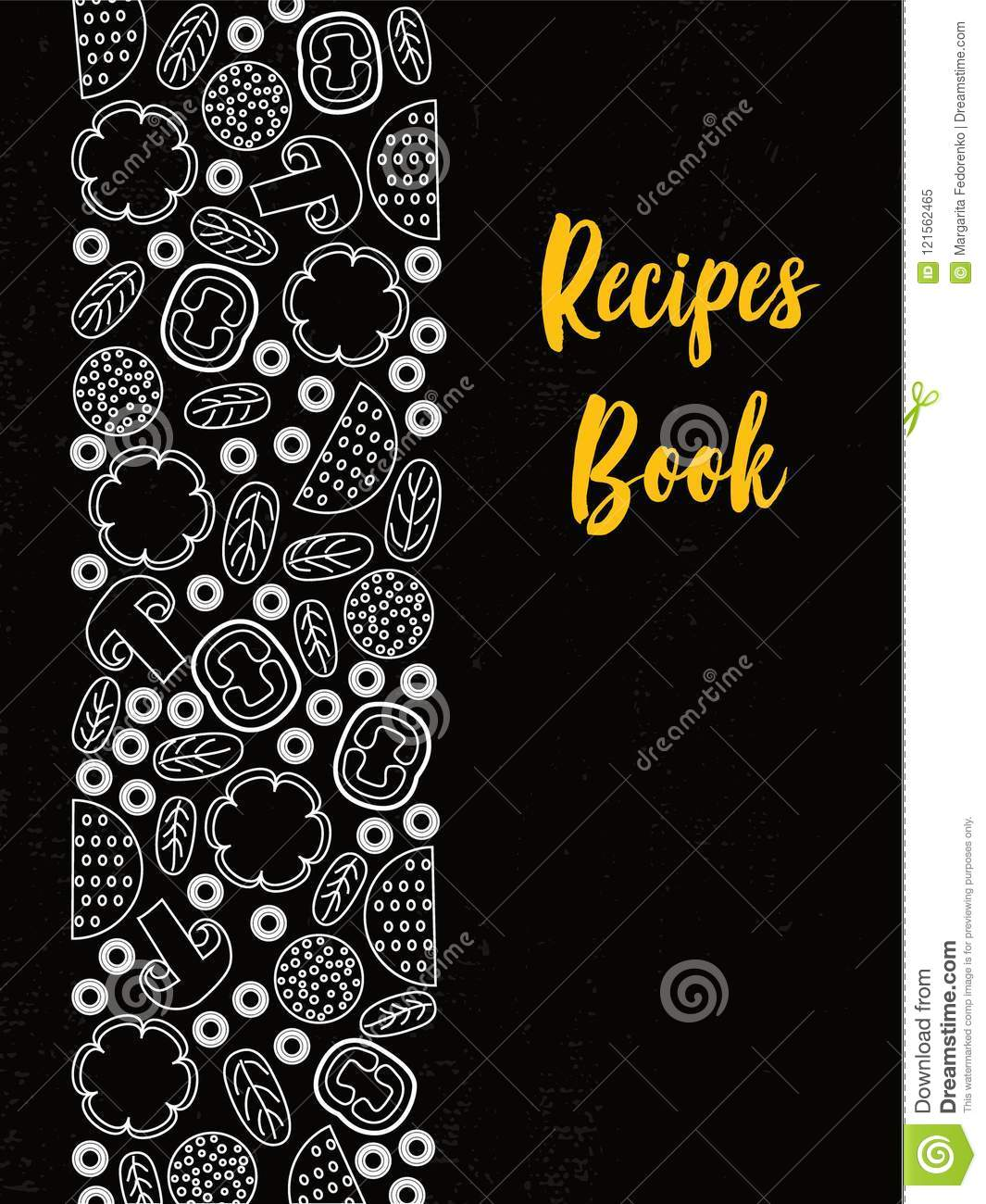 recipes book cover typography poster template stock vector