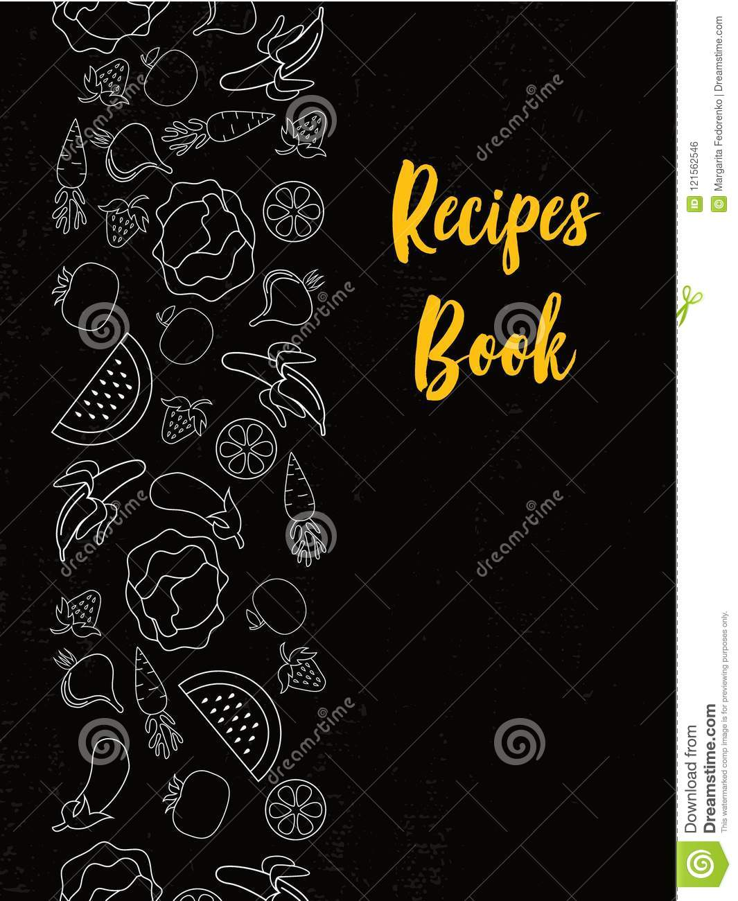 Typographic Book Cover Vector : Recipes book cover typography poster template stock vector