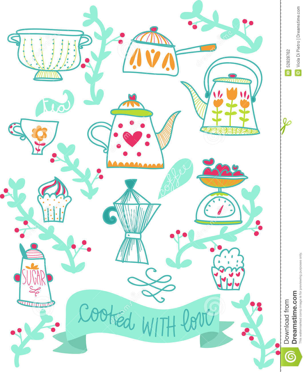Retro Kitchen Illustration: Recipes Retro Kitchen Illustration Stock Illustration
