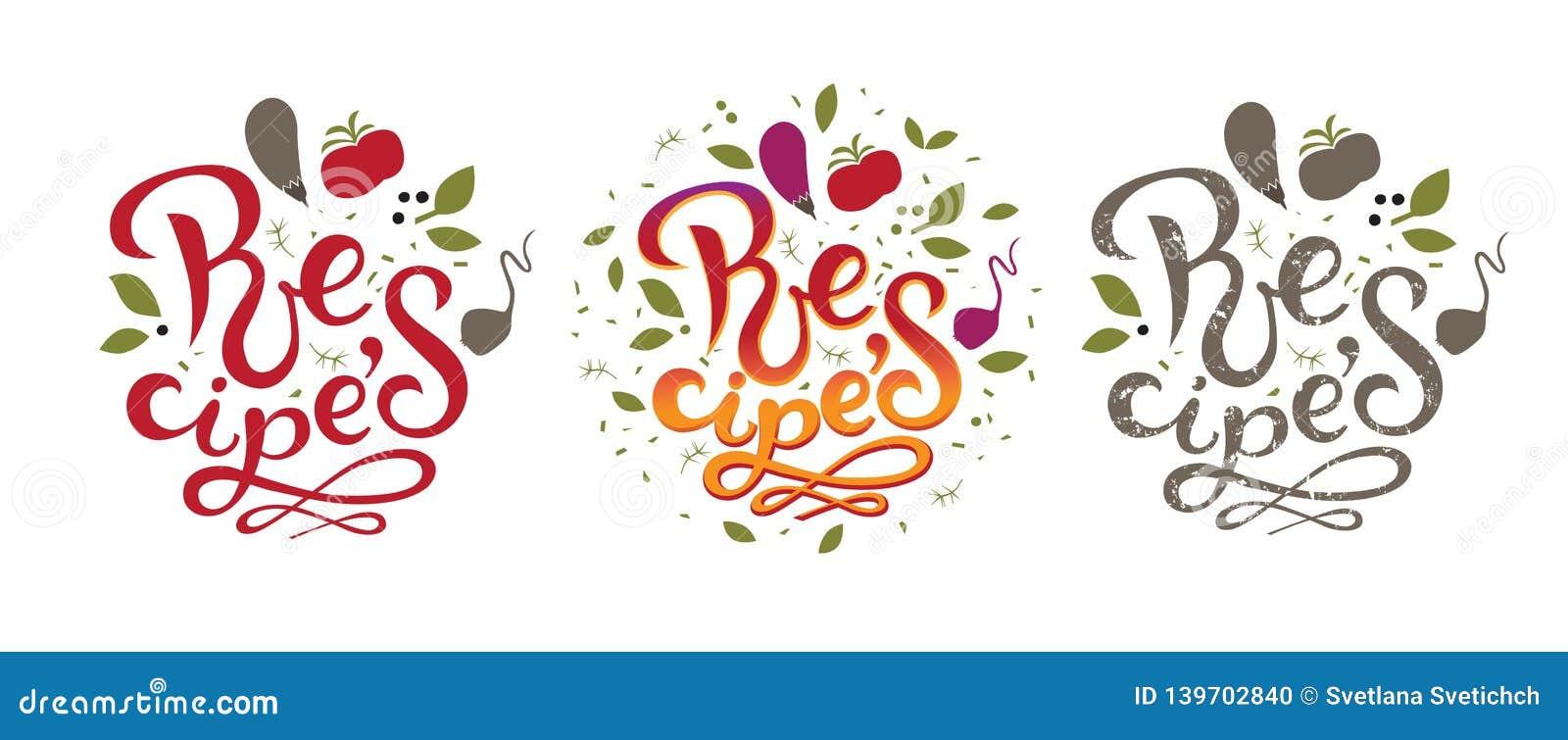 Recipes Sign, Logo, Emblem. Vector Illustration Stock Vector