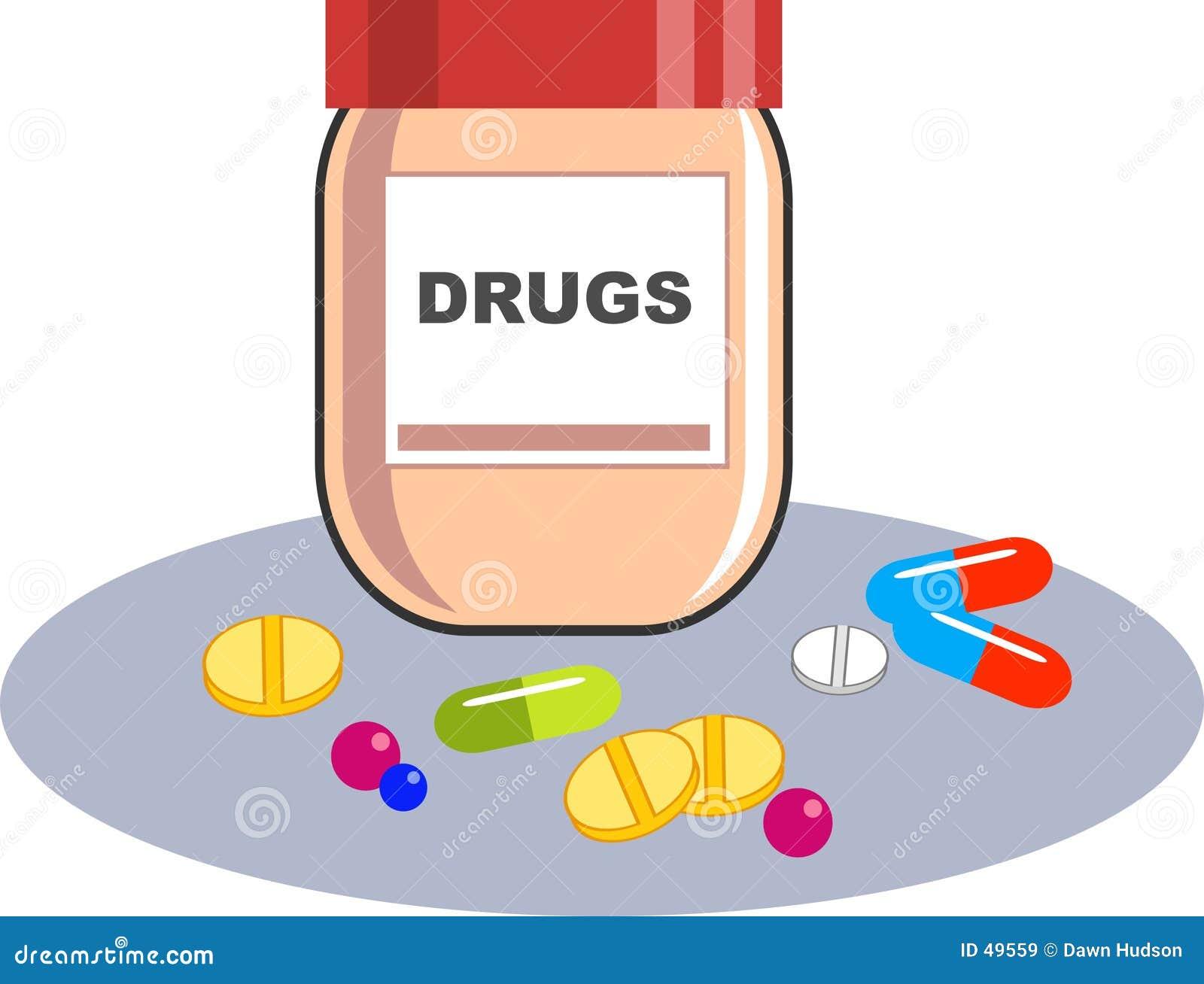 Recipiente das drogas
