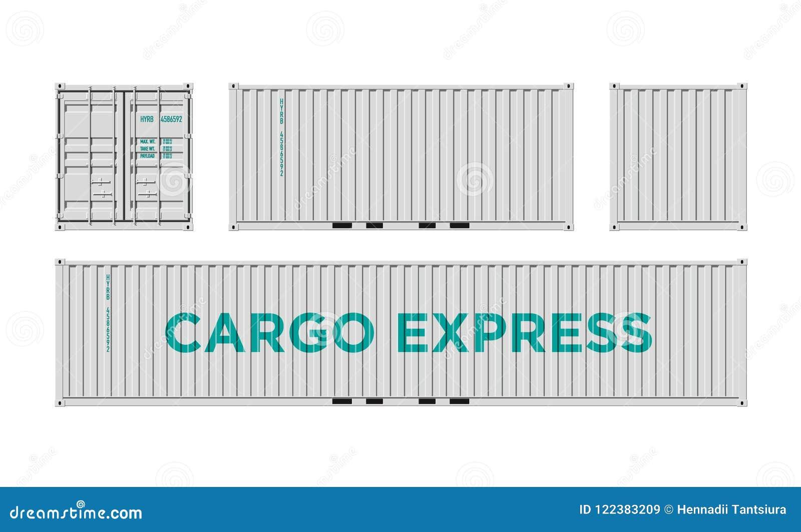 Recipiente de carga branco do transporte para a logística e transporte isolado na ilustração branca do vetor do fundo fácil mudar