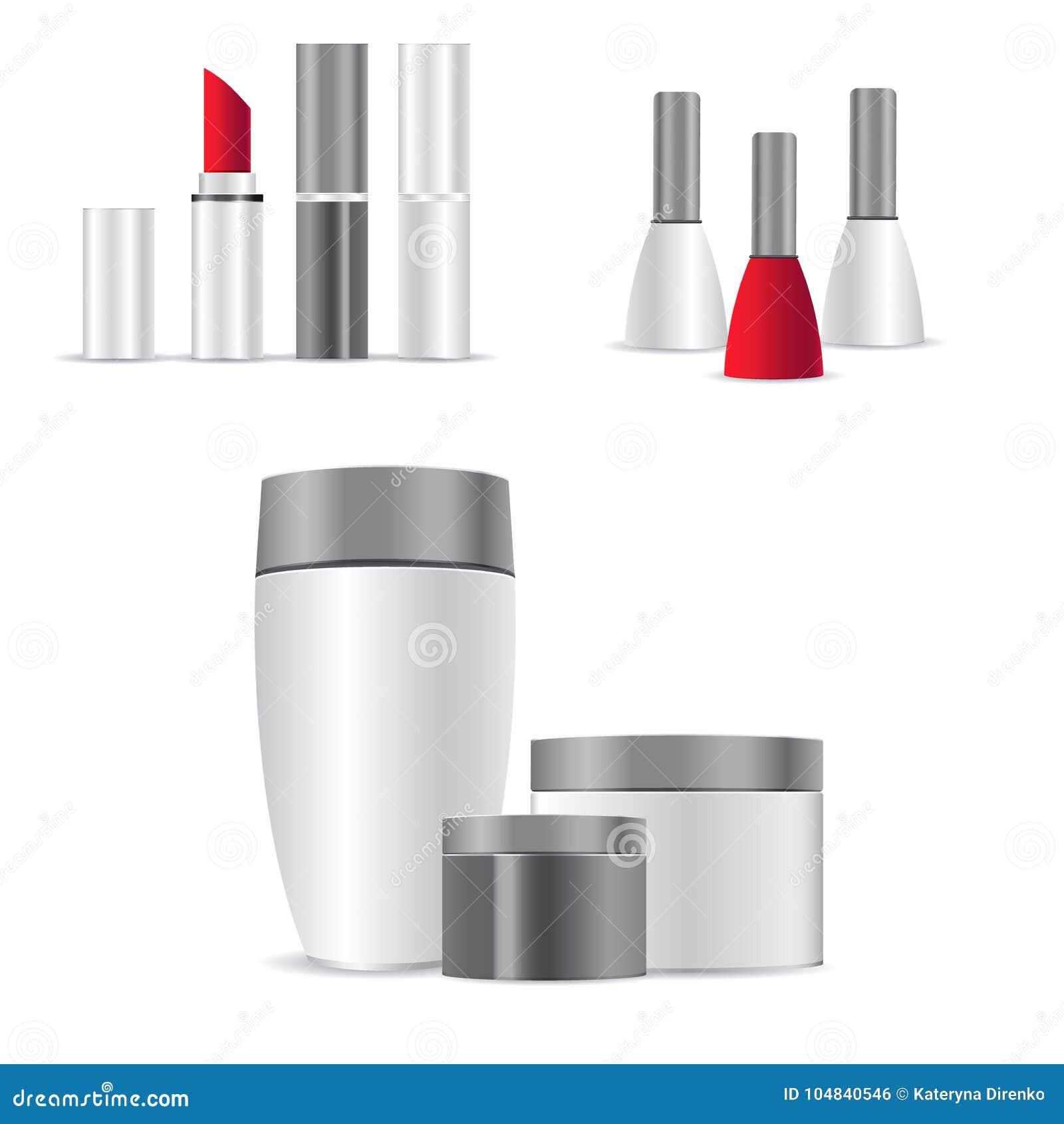 Recipiente e tubo de creme cosméticos brancos realísticos para o creme, pomada, dentífrico, zombaria da loção acima da garrafa