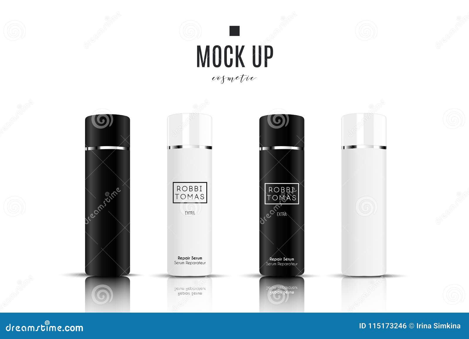 Recipiente e tubo de creme cosméticos brancos realísticos para o creme, pomada, dentífrico, zombaria da loção acima da garrafa Ge