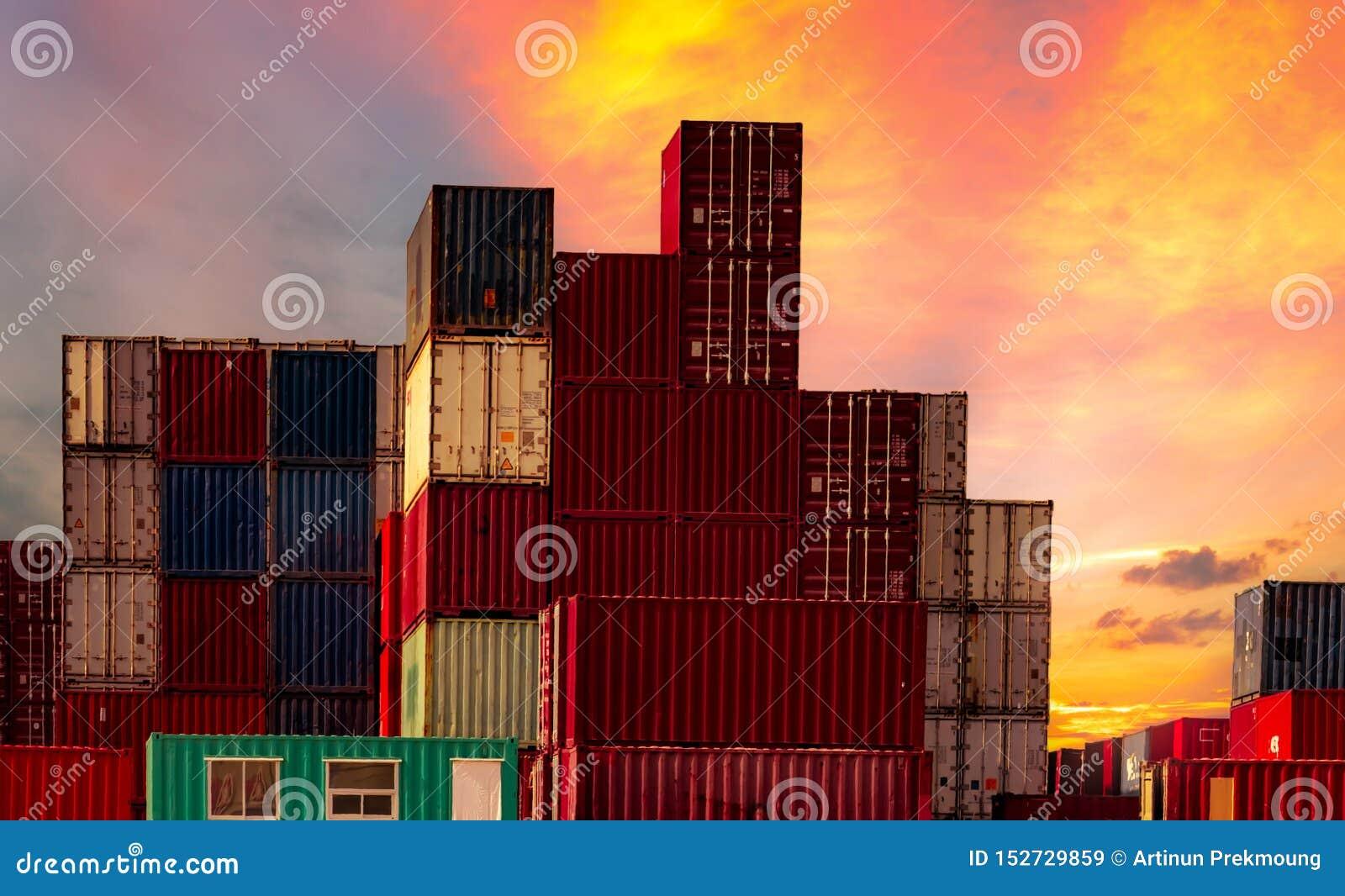 Recipiente log?stico Carga e negócio de transporte Navio de recipiente para a importação e a exportação logísticas Esta??o do fre