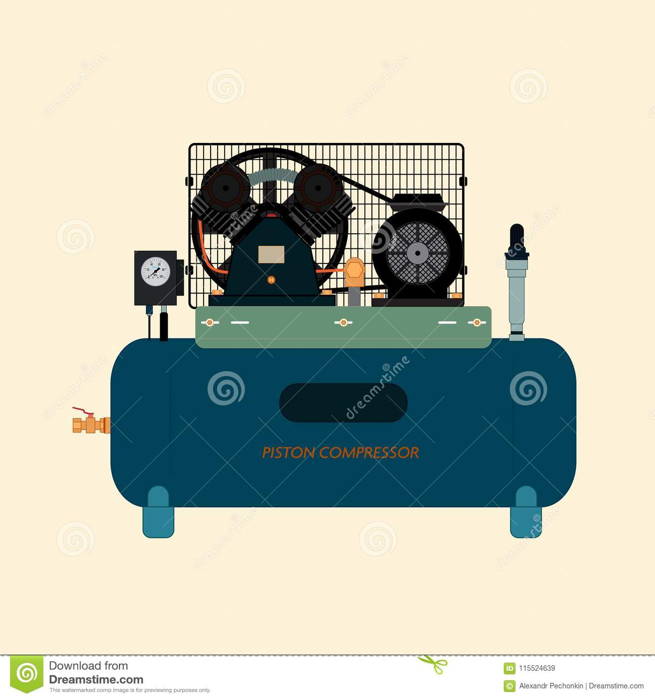 Reciprocating Piston Air Compressor Stock Vector Illustration Of