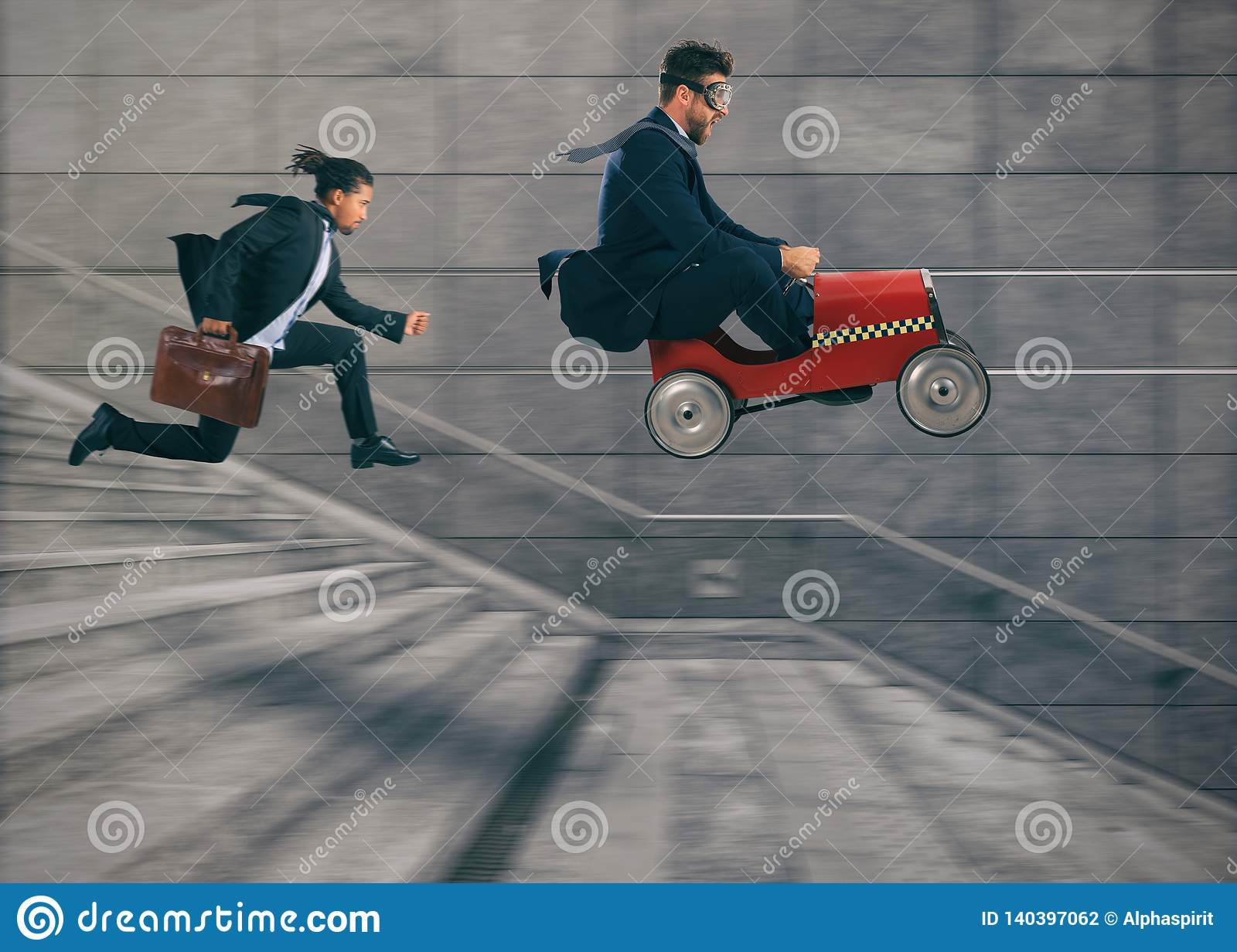 Reckless business man races with a car to win a competition against the competitors. Concept of success and competition