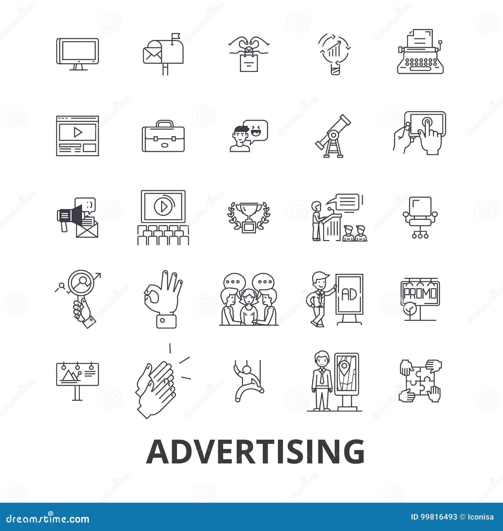 Reclame, marketing, sociale media, aanplakbord, nieuws, televisie, brandmerkende lijnpictogrammen Editableslagen Vlak Ontwerp