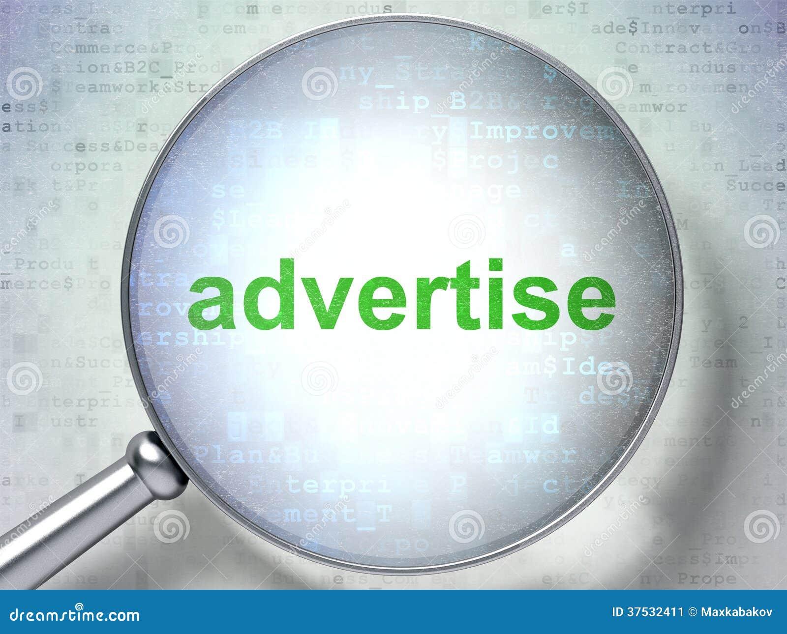 Reclameconcept: Adverteer met optisch glas