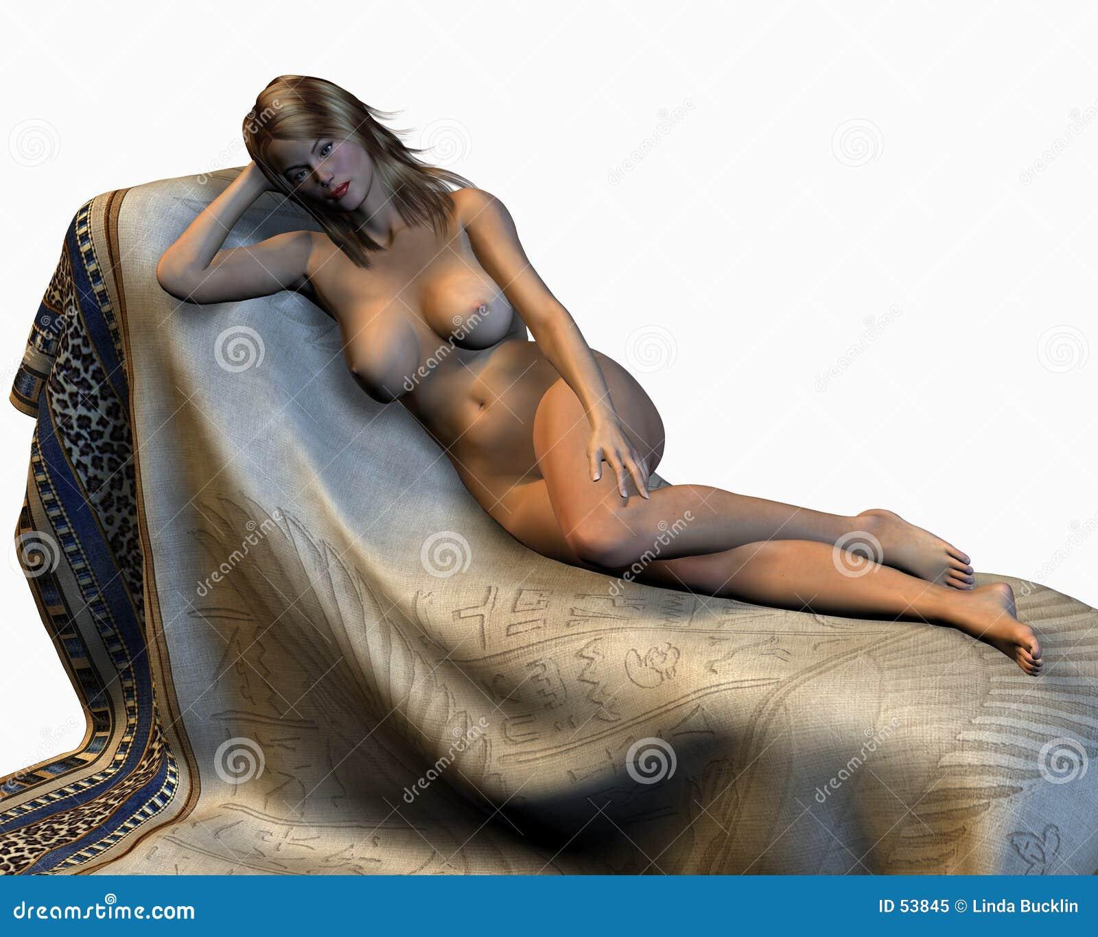 Reclinação nu da mulher