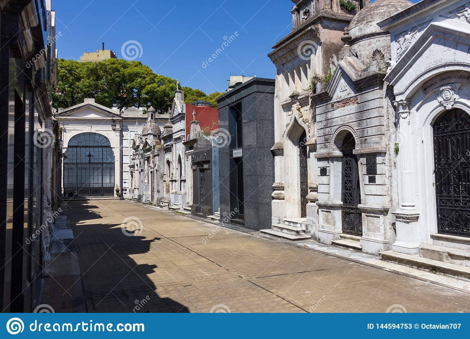 Recoleta cemetery in Buenos Aires beautiful view on empty street