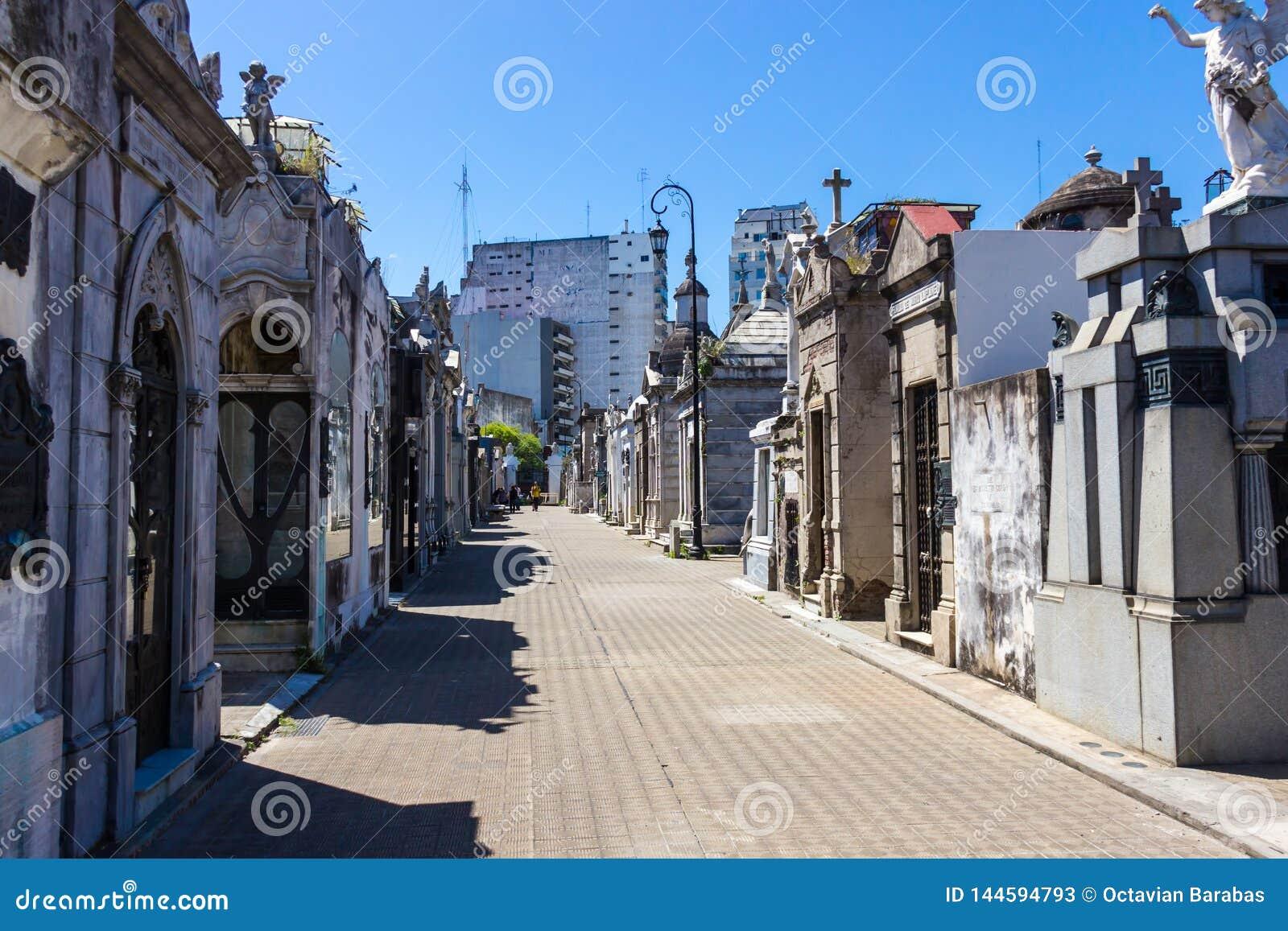 Recoleta cemetery in Buenos Aires in summer