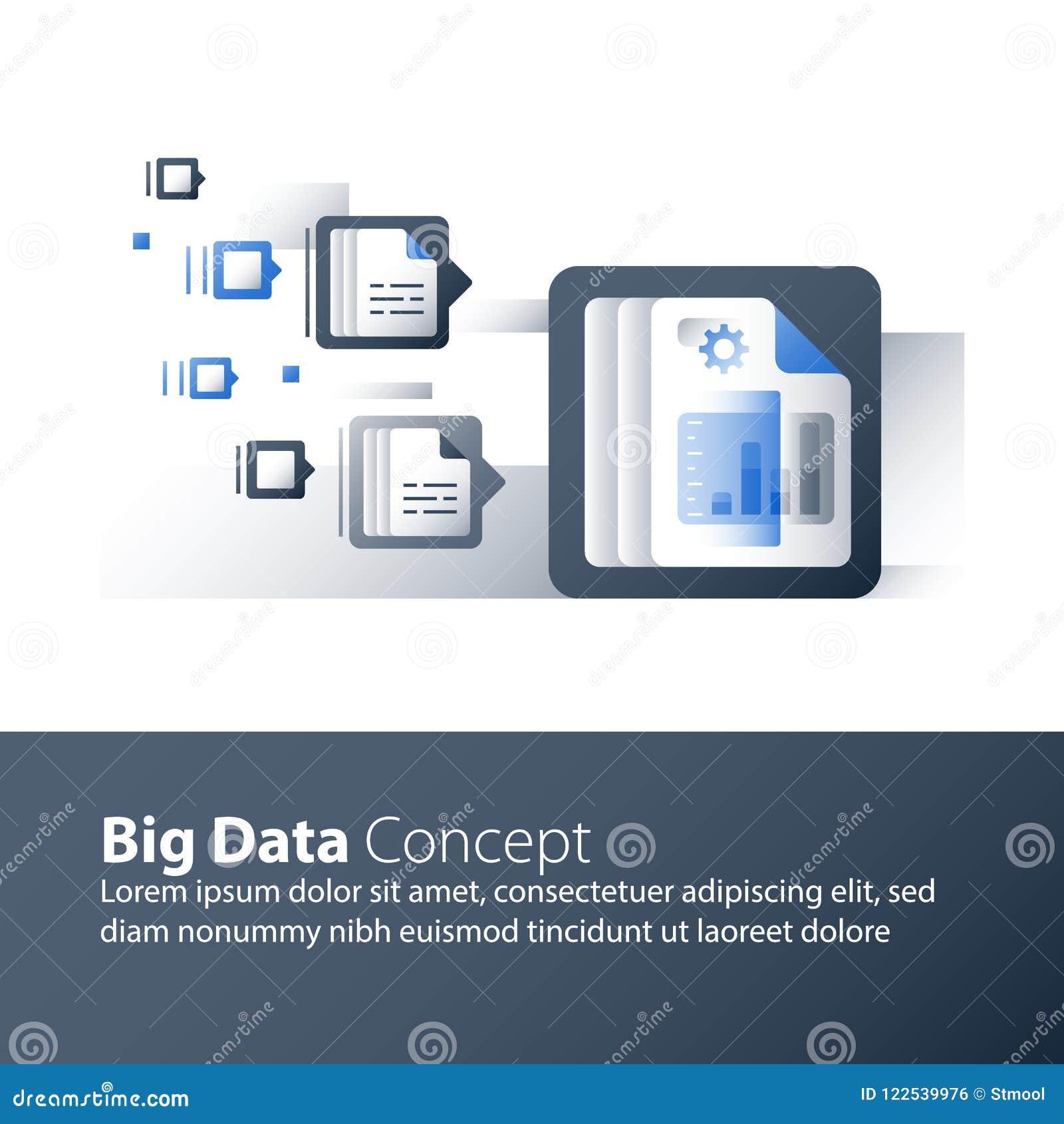 Recolha de informação e processamento, dados grandes que analisam, gráfico do relatório, tecnologia do negócio