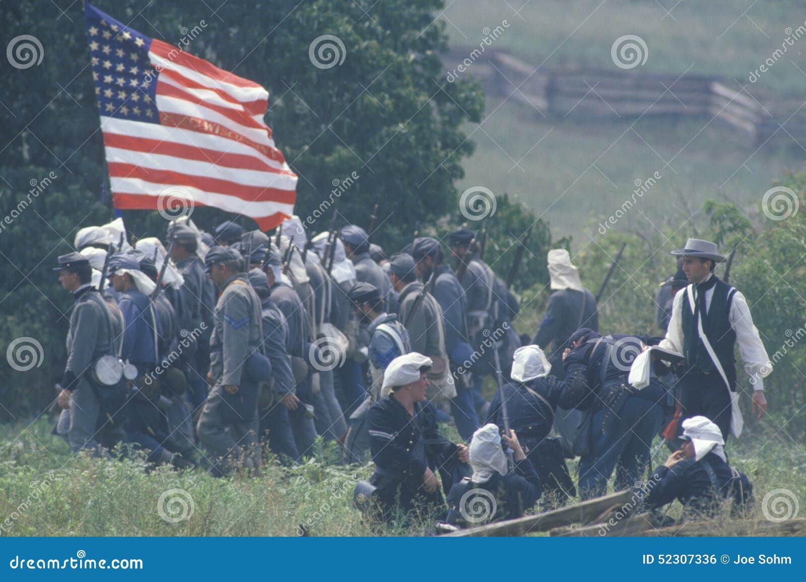 Reconstitution historique de la bataille de Manassas, marquant le début de la guerre civile, la Virginie
