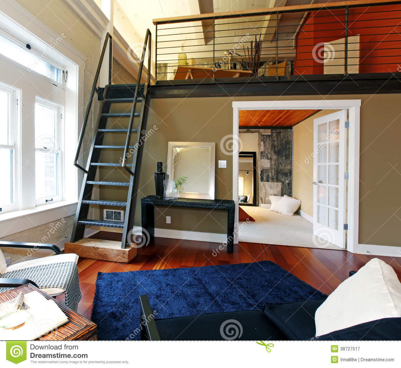 reconstructed modern living room with mezzanine royalty free stock photography image 38727517