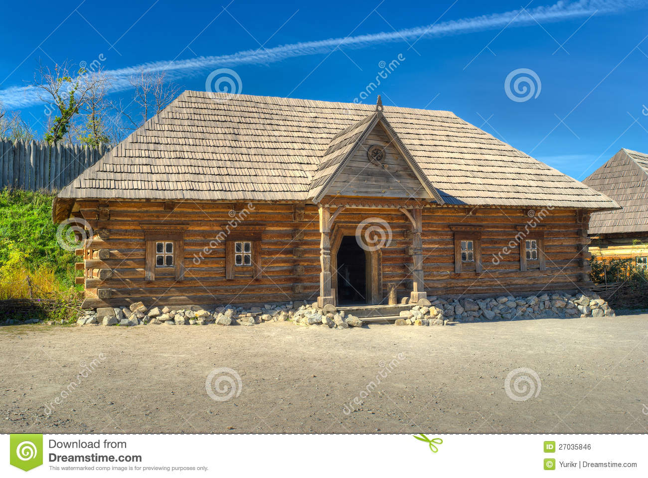 Reconstruction Of Old Log House In Outdoor Museum Royalty