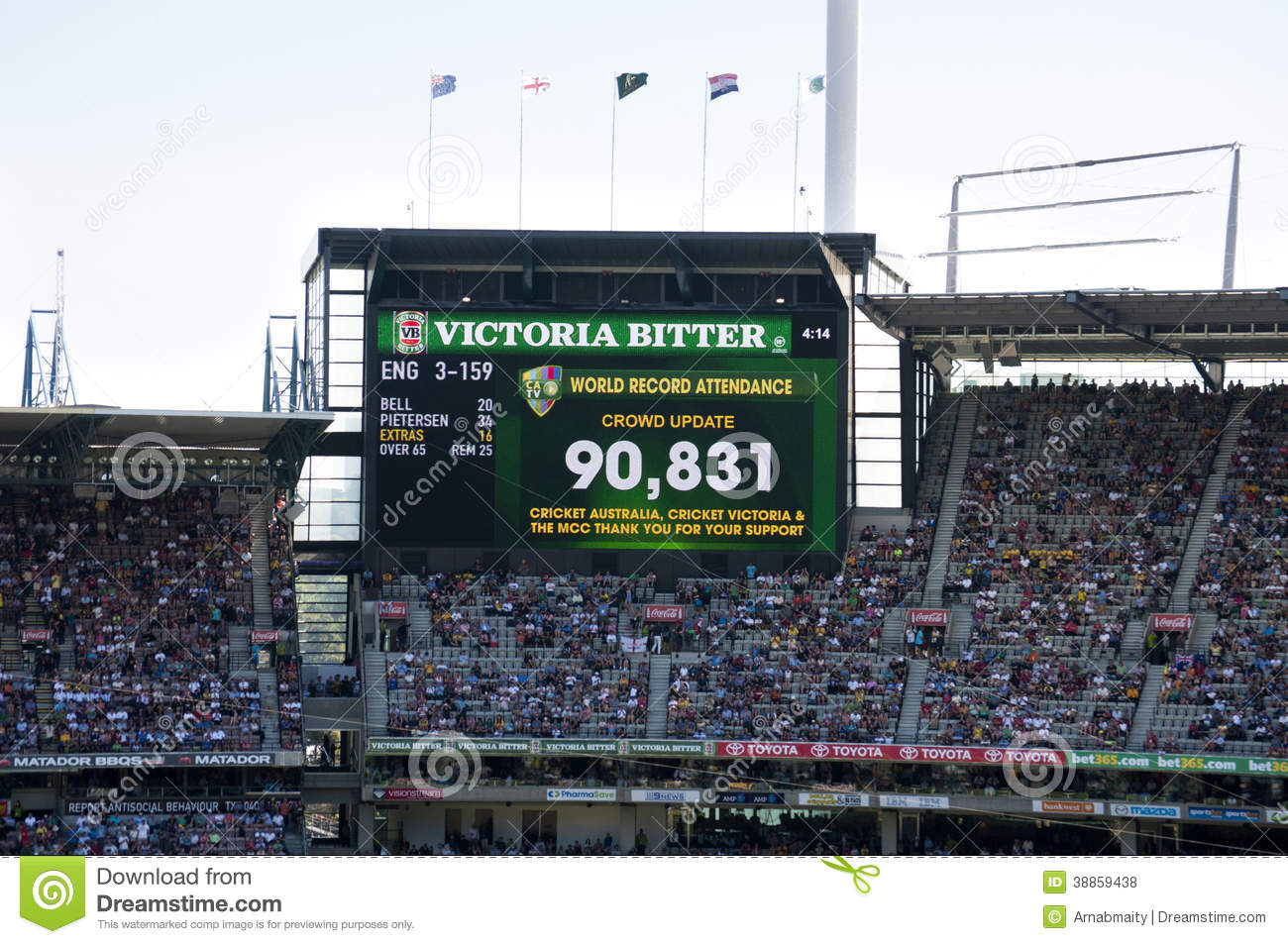 record attendance at melbourne cricket ground editorial stock photo